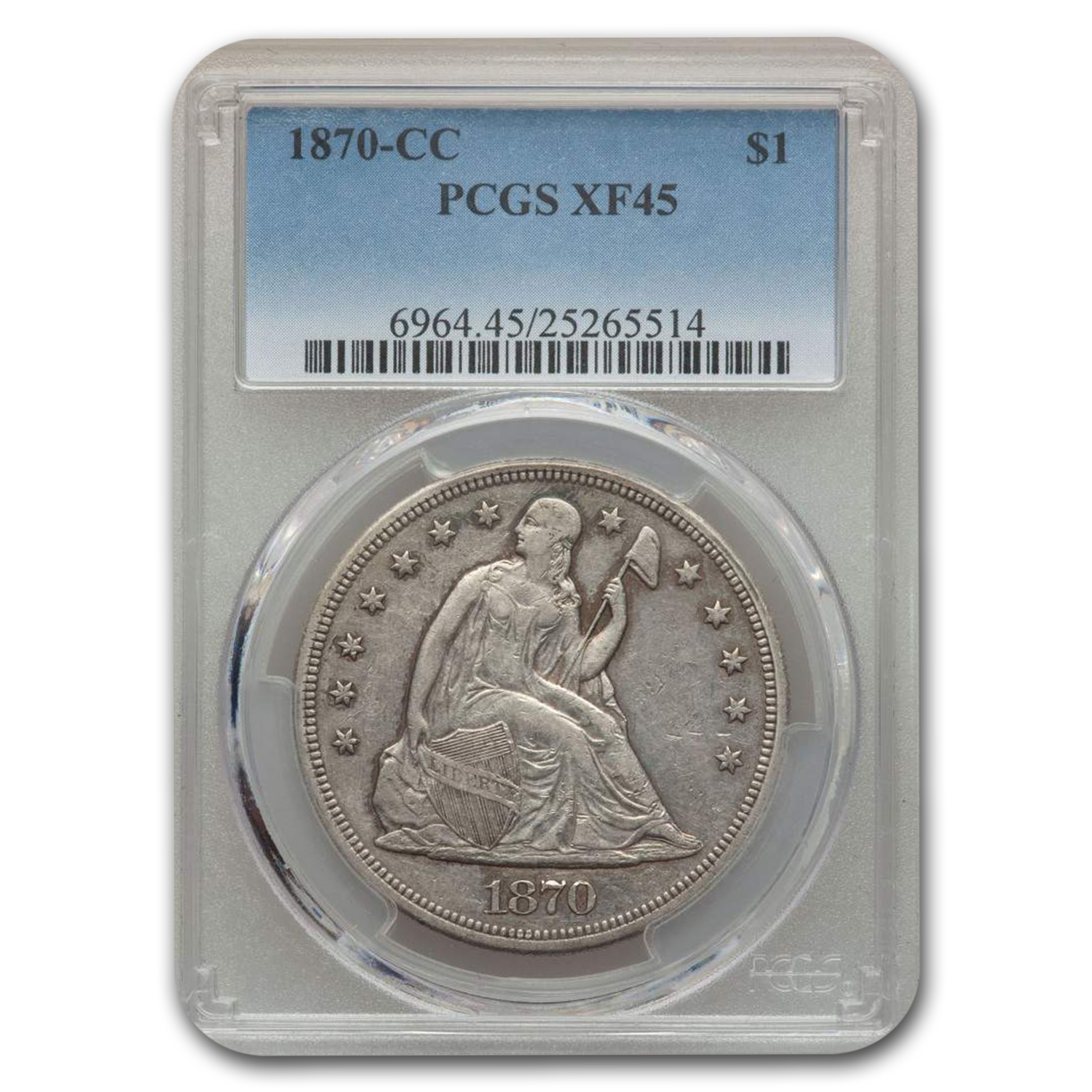 1870-CC Liberty Seated Dollar XF-45 PCGS