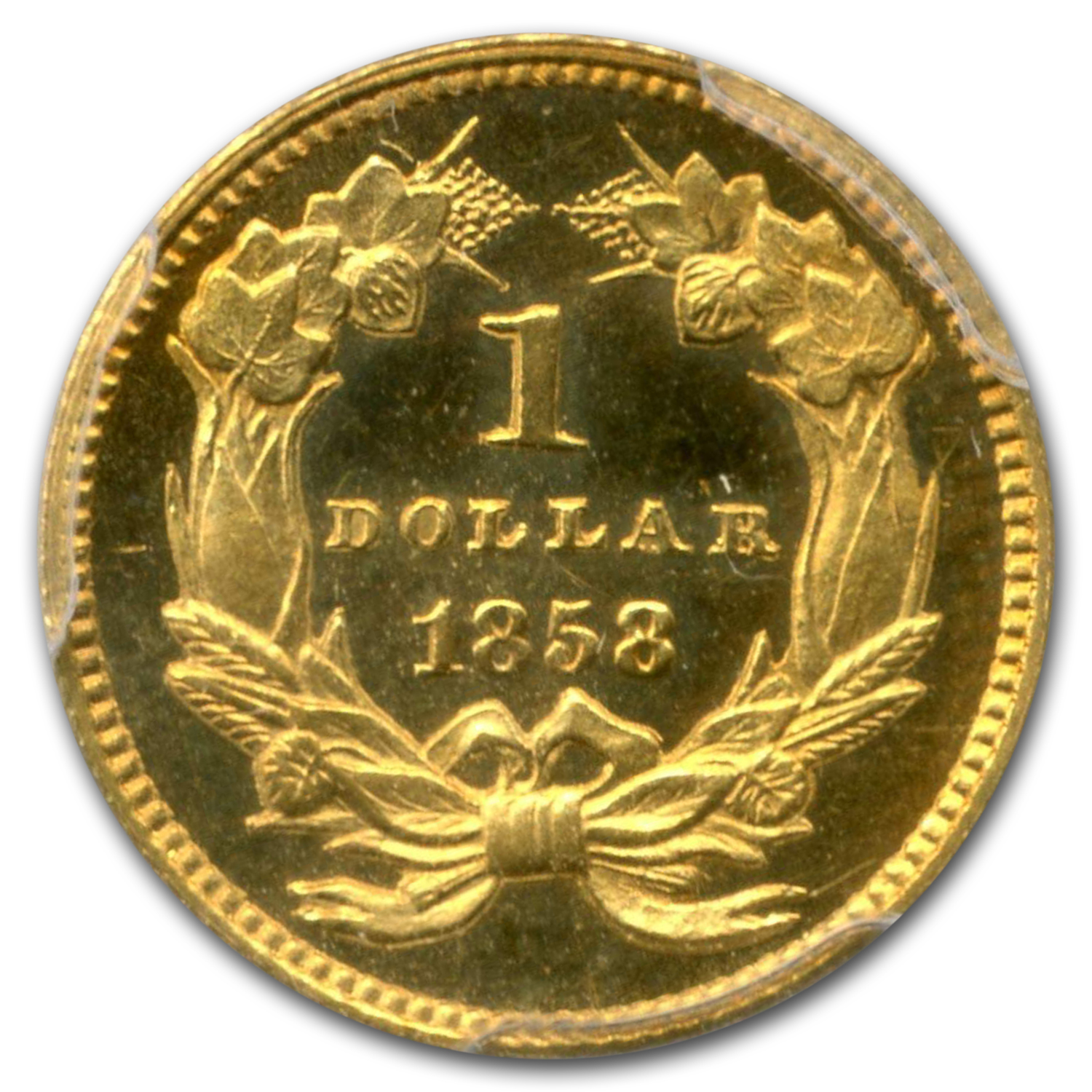 1858 $1 Indian Head Gold Type 3 PR-64 Cameo PCGS