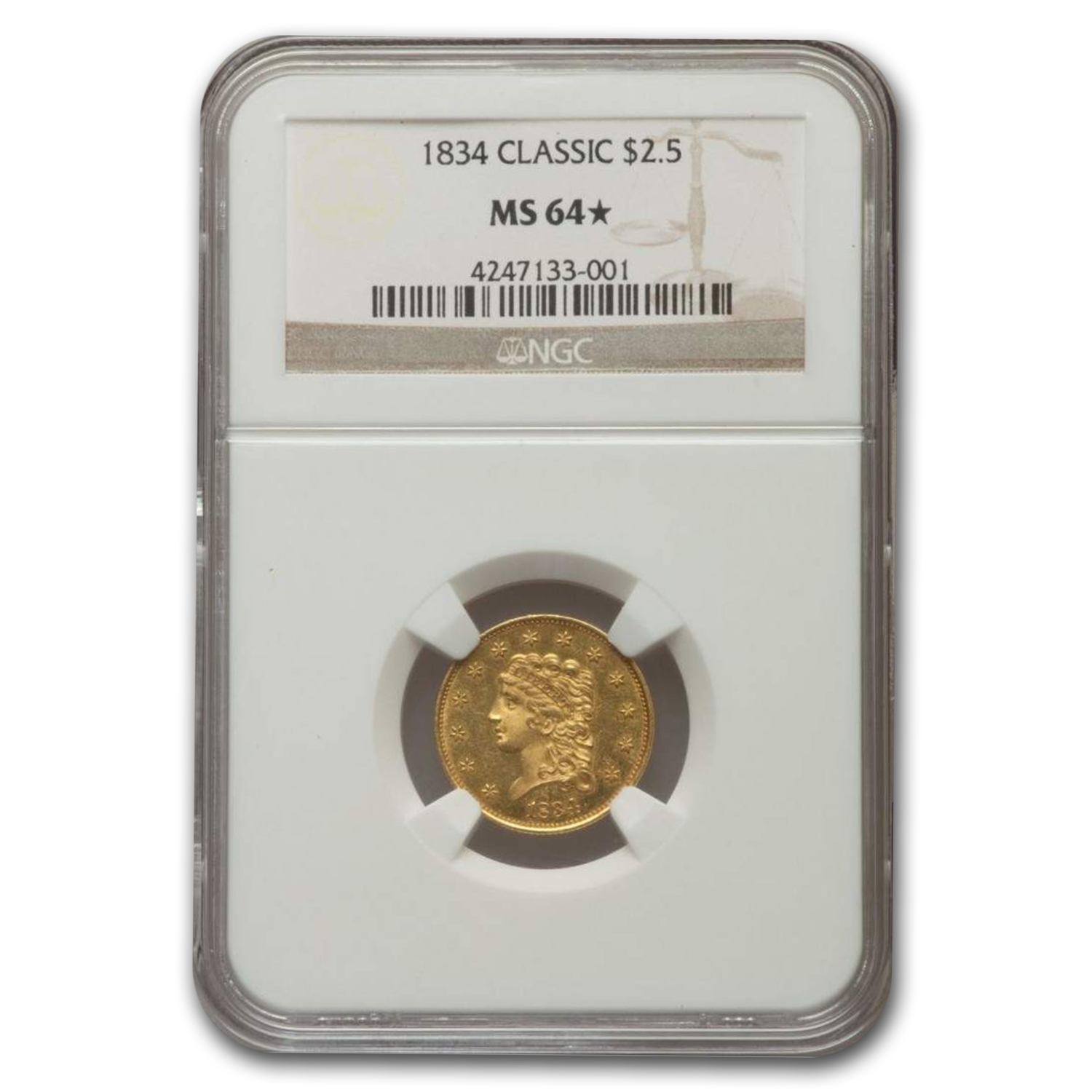 1834 $2.50 Classic Head Quarter Eagle MS-64* NGC