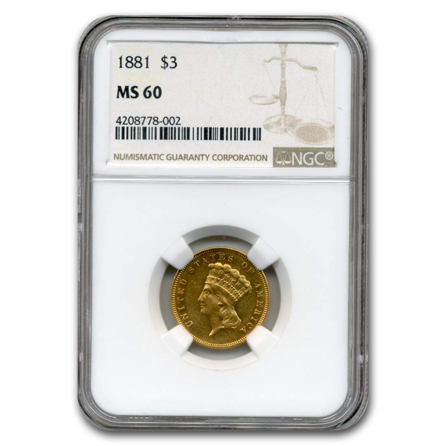 1881 $3 Gold Princess MS-60 NGC