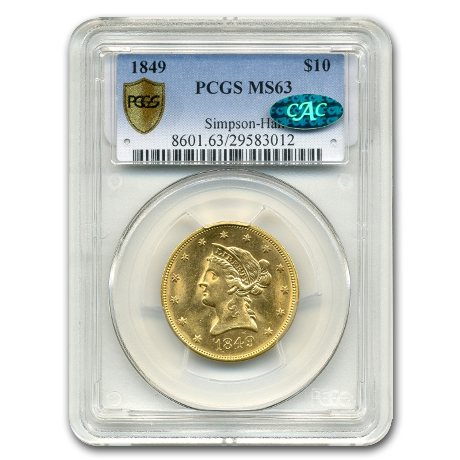 1849 $10 Liberty Gold Eagle MS-63 CAC PCGS
