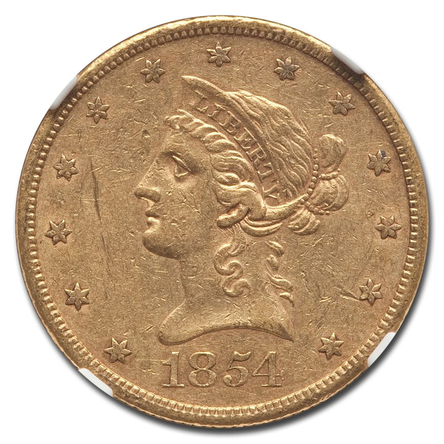 1854-S $10 Liberty Gold Eagle AU-55 NGC