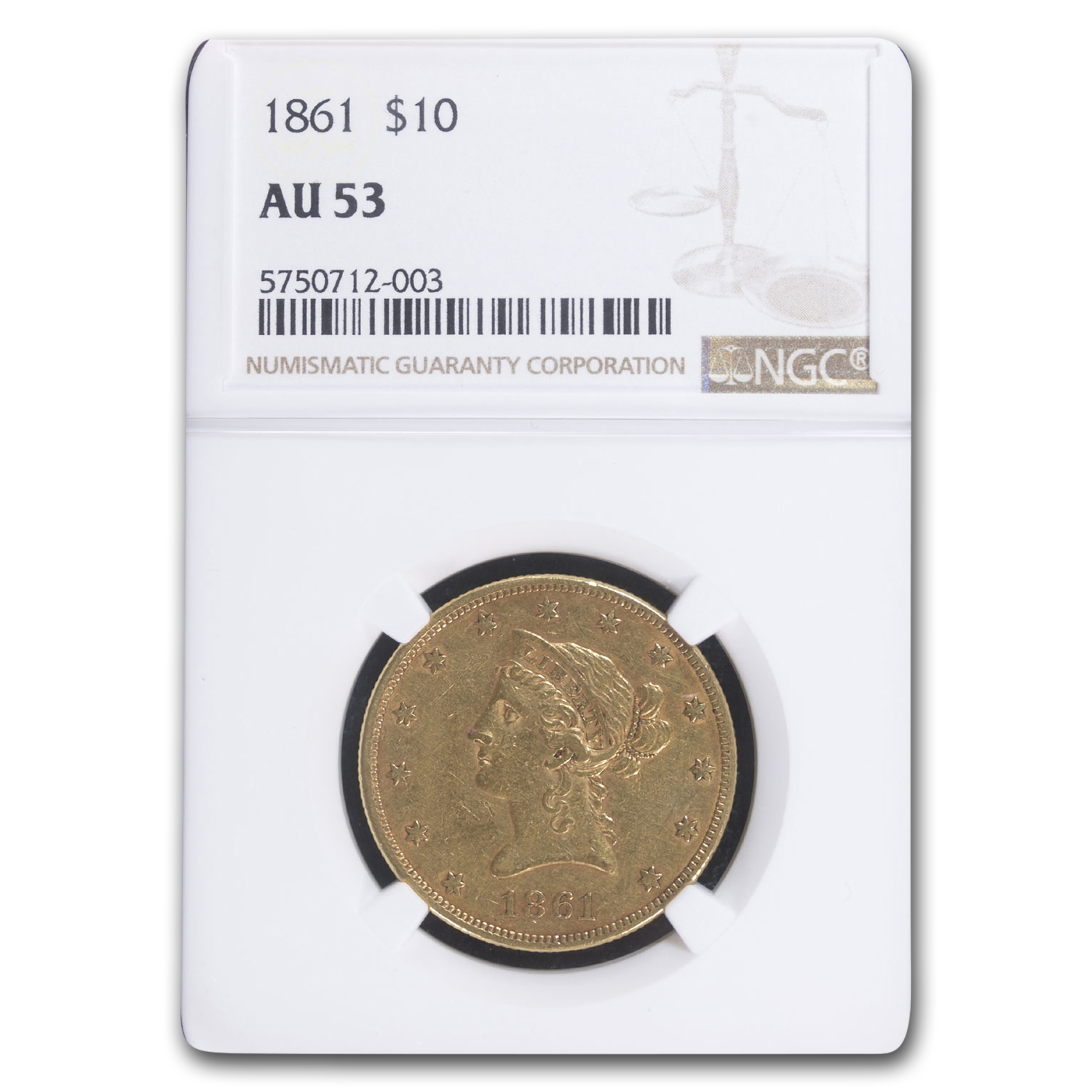 1861 $10 Liberty Gold Eagle AU-53 NGC