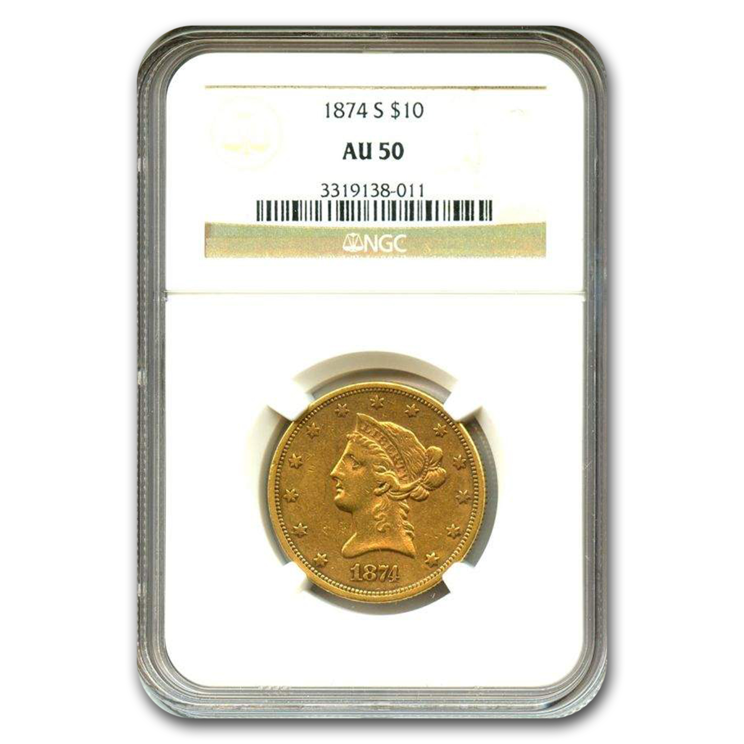 1874-S $10 Liberty Gold Eagle AU-50 NGC