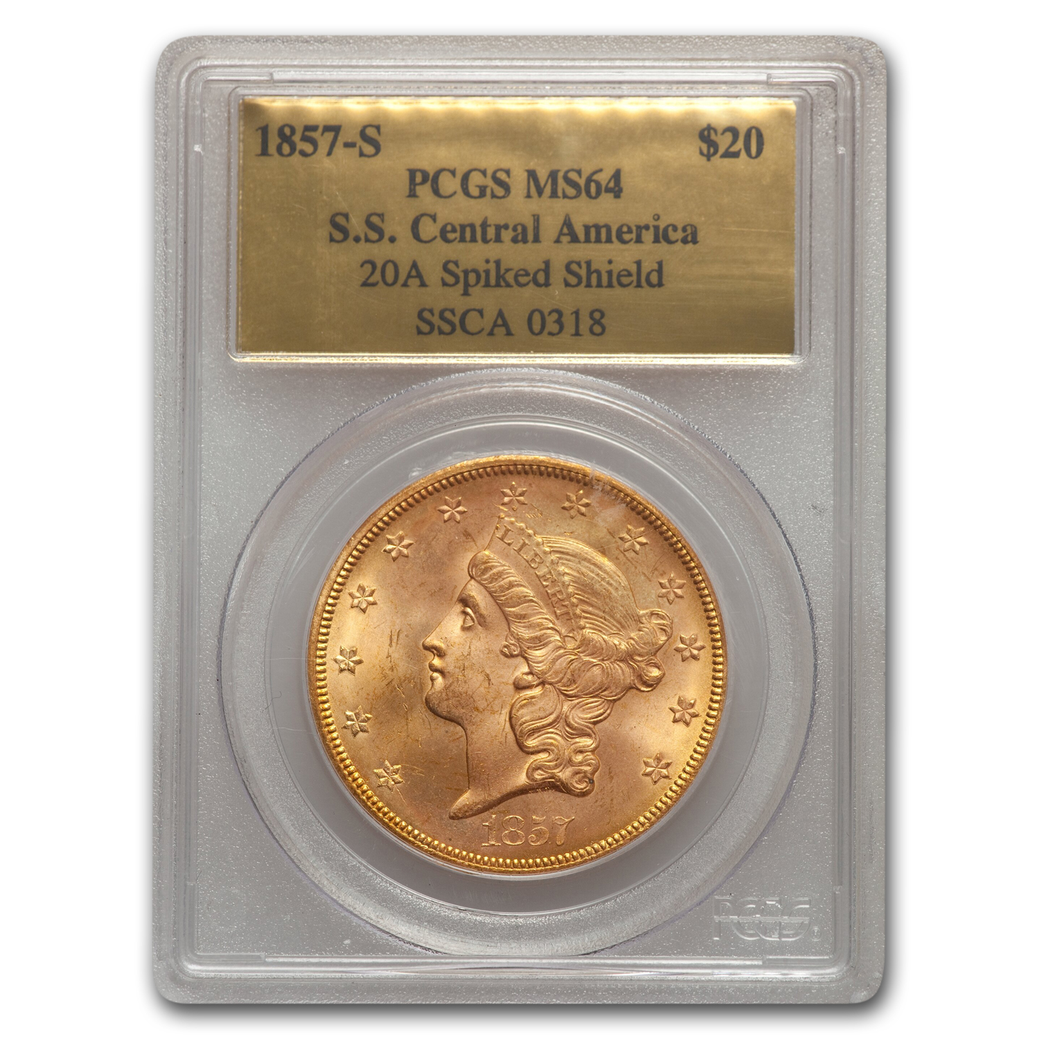 1857-S $20 Liberty Gold Dbl Eagle MS-64 PL PCGS (Central America)