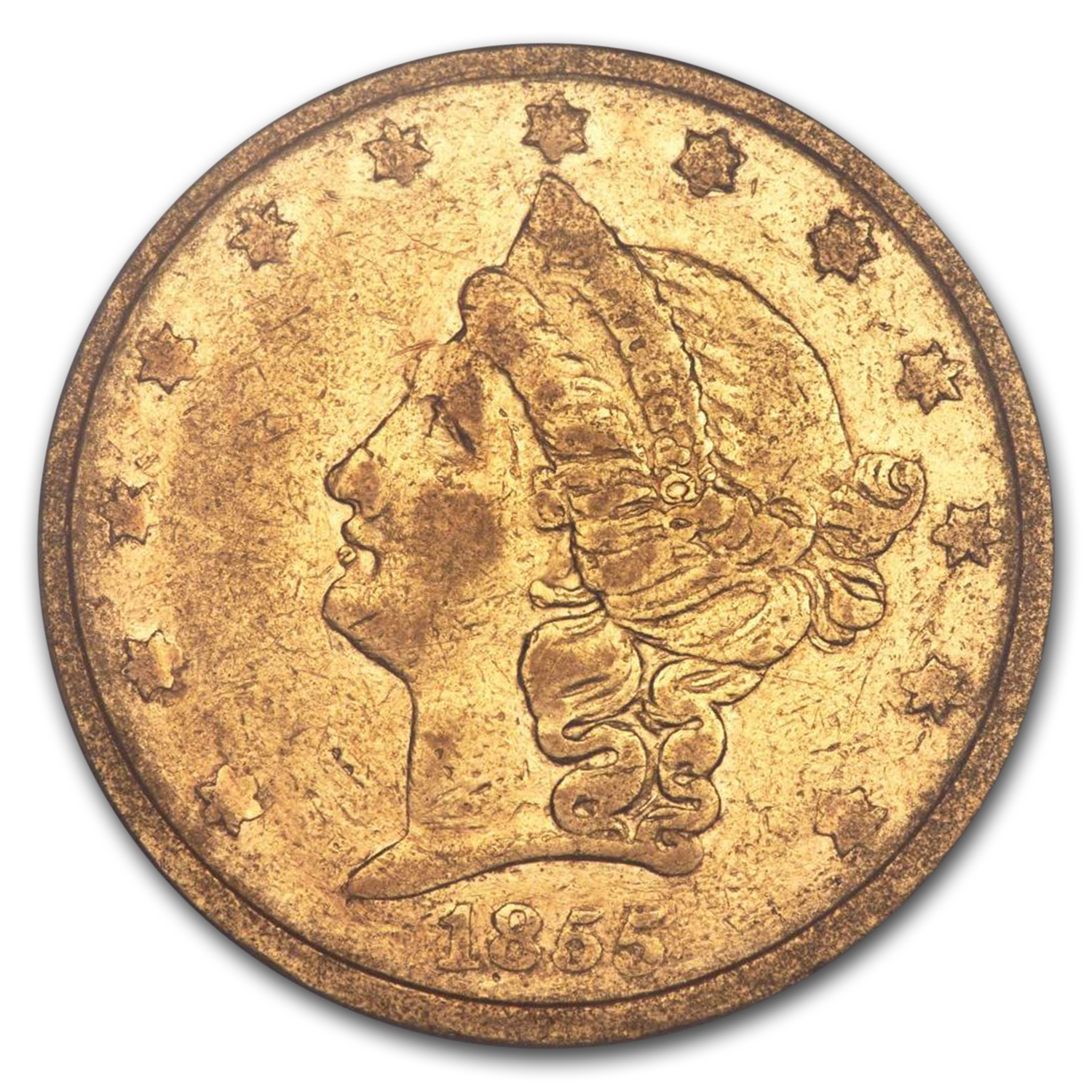 1855 $20 Kellogg Gold California Gold Rush VF-25 PCGS