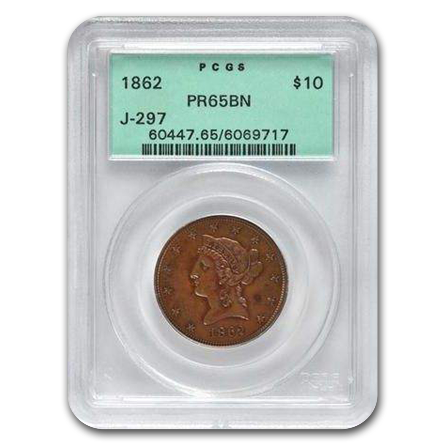 1862 Copper $10 Liberty Judd-297 Significant Pattern PR-65 BN OGH