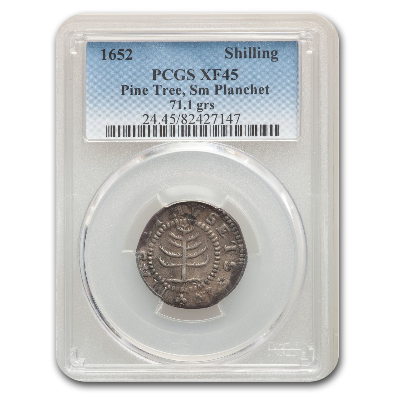 1652 Pine Tree Shilling, Small Planchet Colonial XF-45 PCGS