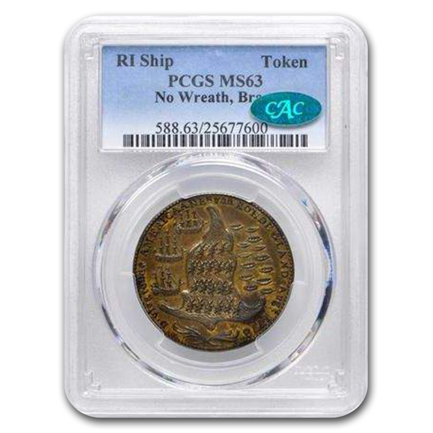 1778-1779 Rhode Island Ship Token Colonial MS-63 CAC PCGS
