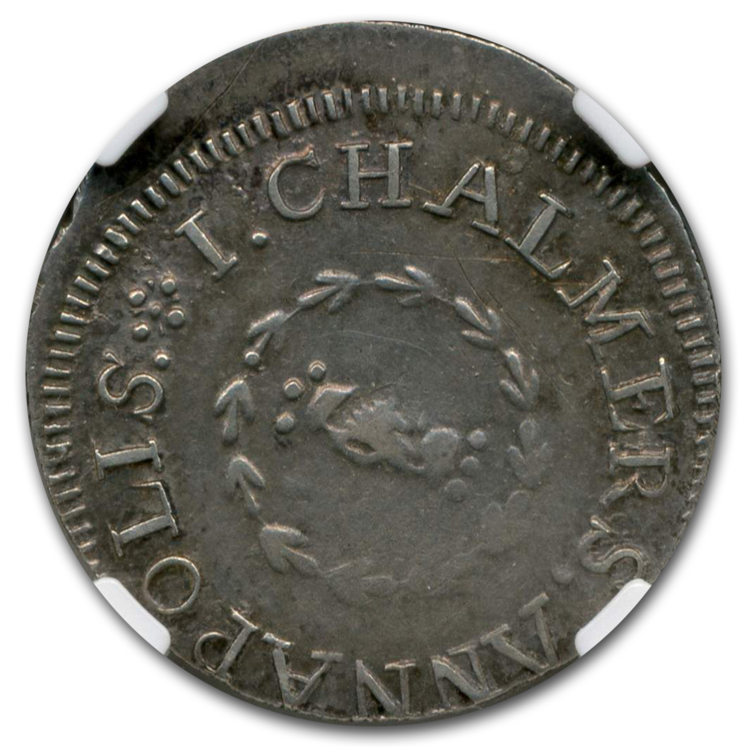 1783 Chalmers Shilling, Long Worm Colonial AU-50 NGC