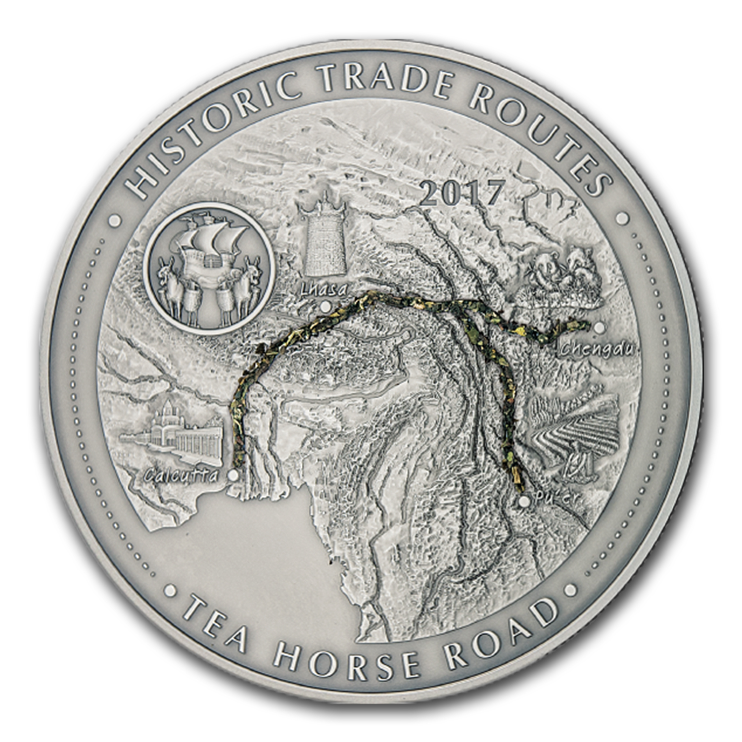2017 Rep. of Cameroon 5 oz Silver Historic Trade Routes (Tea)