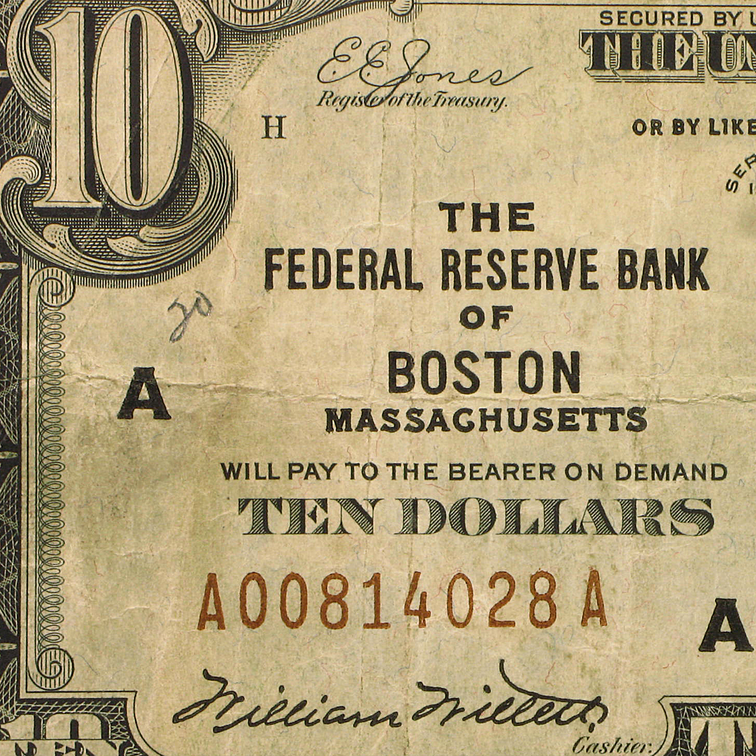 1929 (A-Boston) $10 Brown Seal FRBN VG