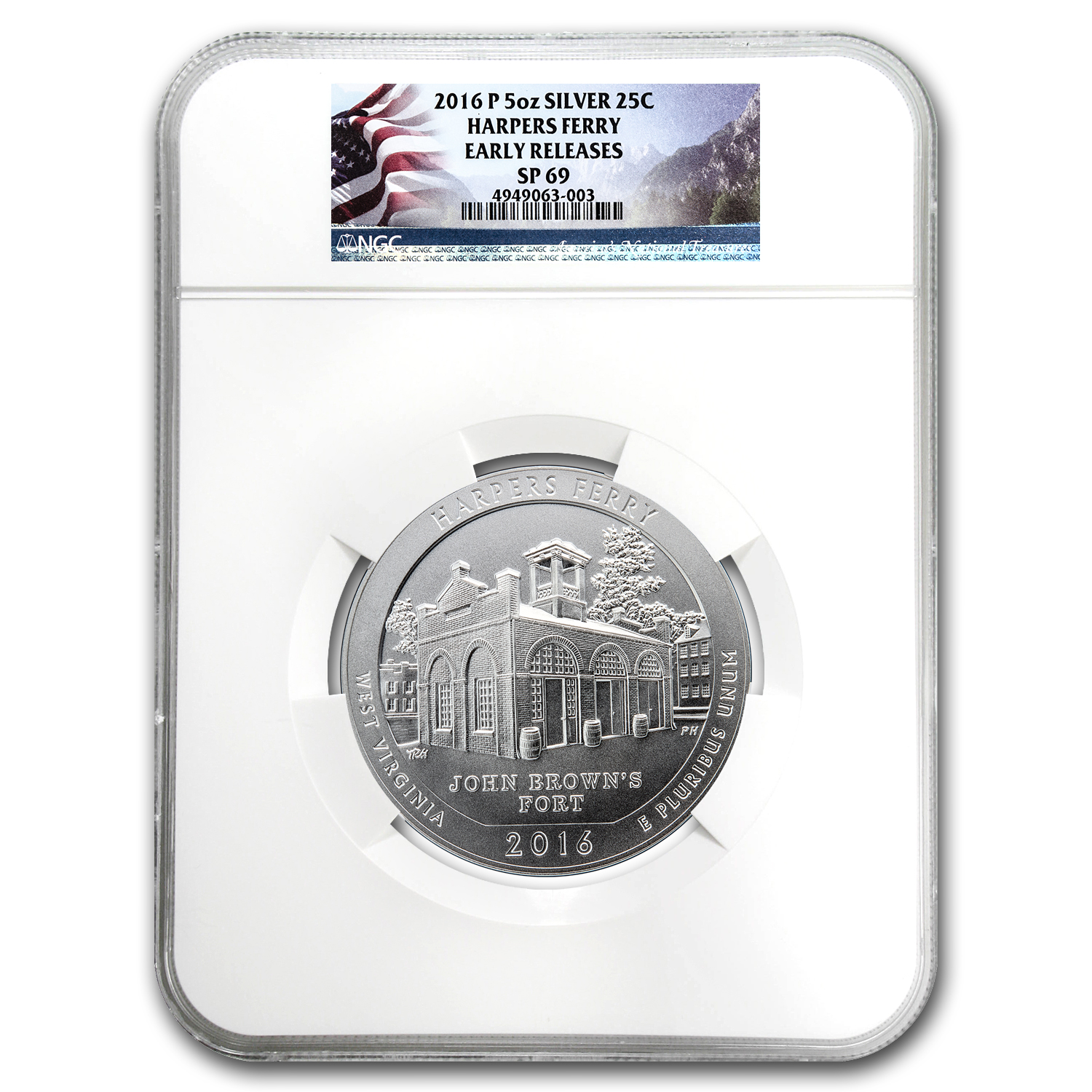 2016-P 5 oz Silver ATB Harpers Ferry SP-69 NGC (Early Release)