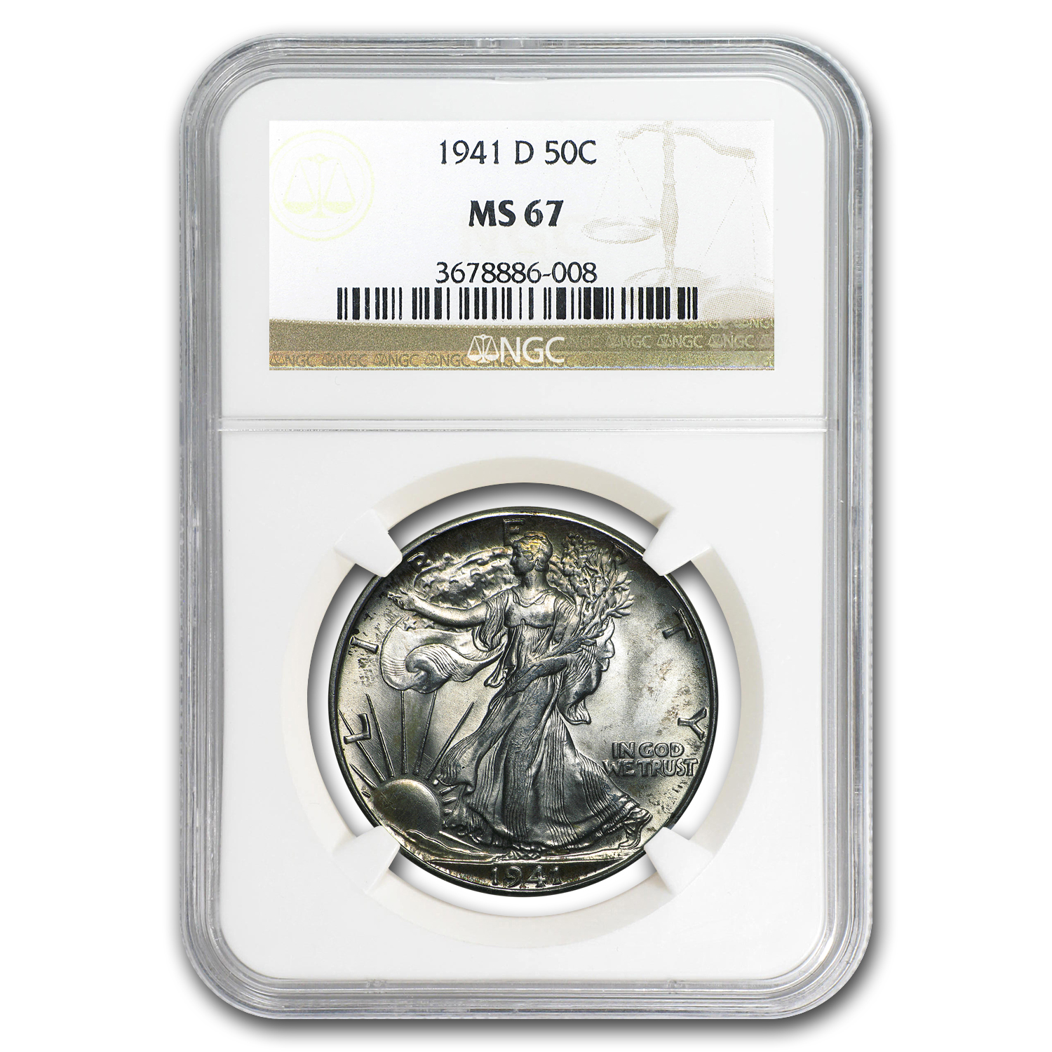 1941-D Walking Liberty Half Dollar MS-67 NGC