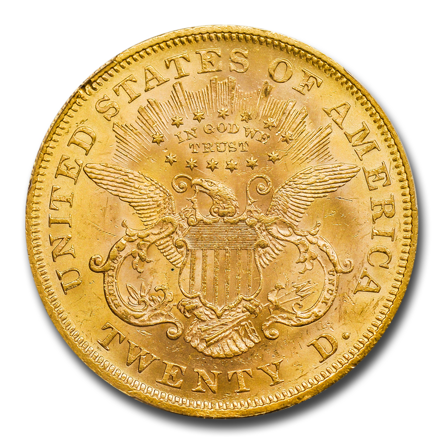 1867 $20 Liberty Gold Double Eagle MS-61 PCGS