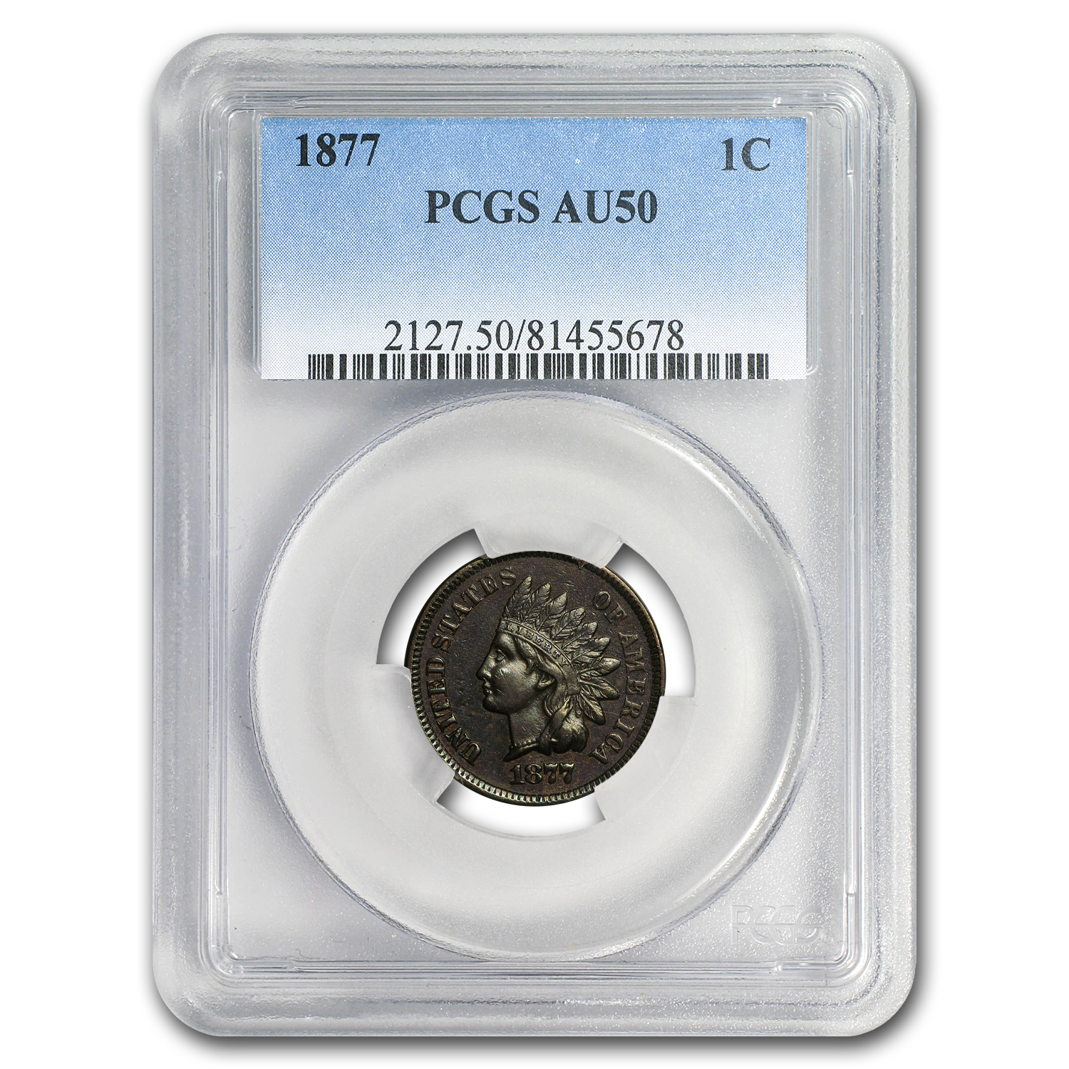 1877 Indian Head Cent AU-50 PCGS