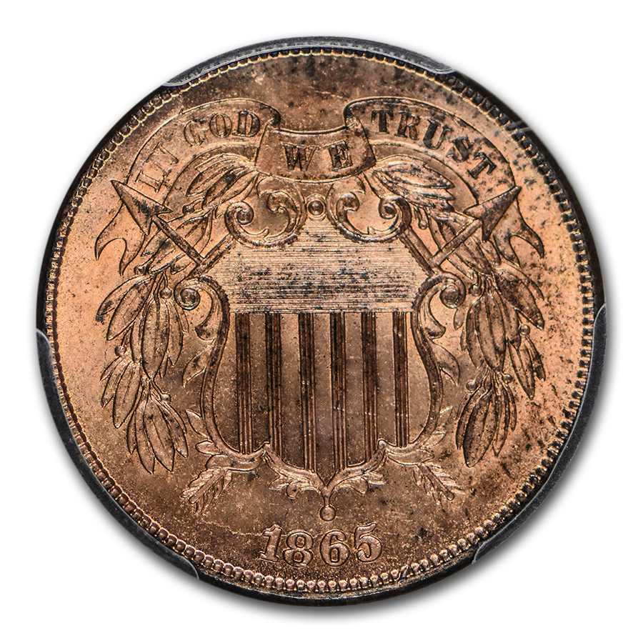 1865 Two Cent Piece MS-64 PCGS (Red)