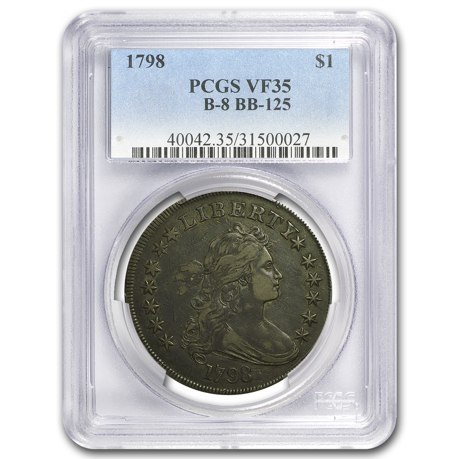 1798 Draped Bust Dollar Heraldic Eagle VF-35 PCGS