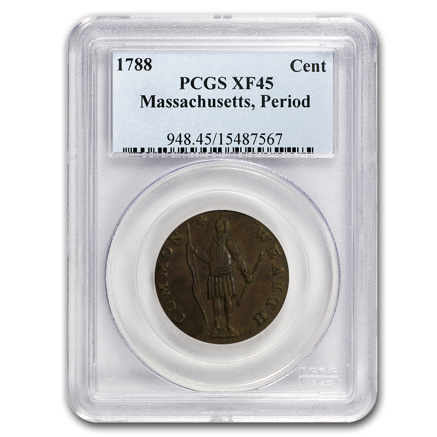 1788 Massachusetts Cent XF-45 PCGS (w/Period)