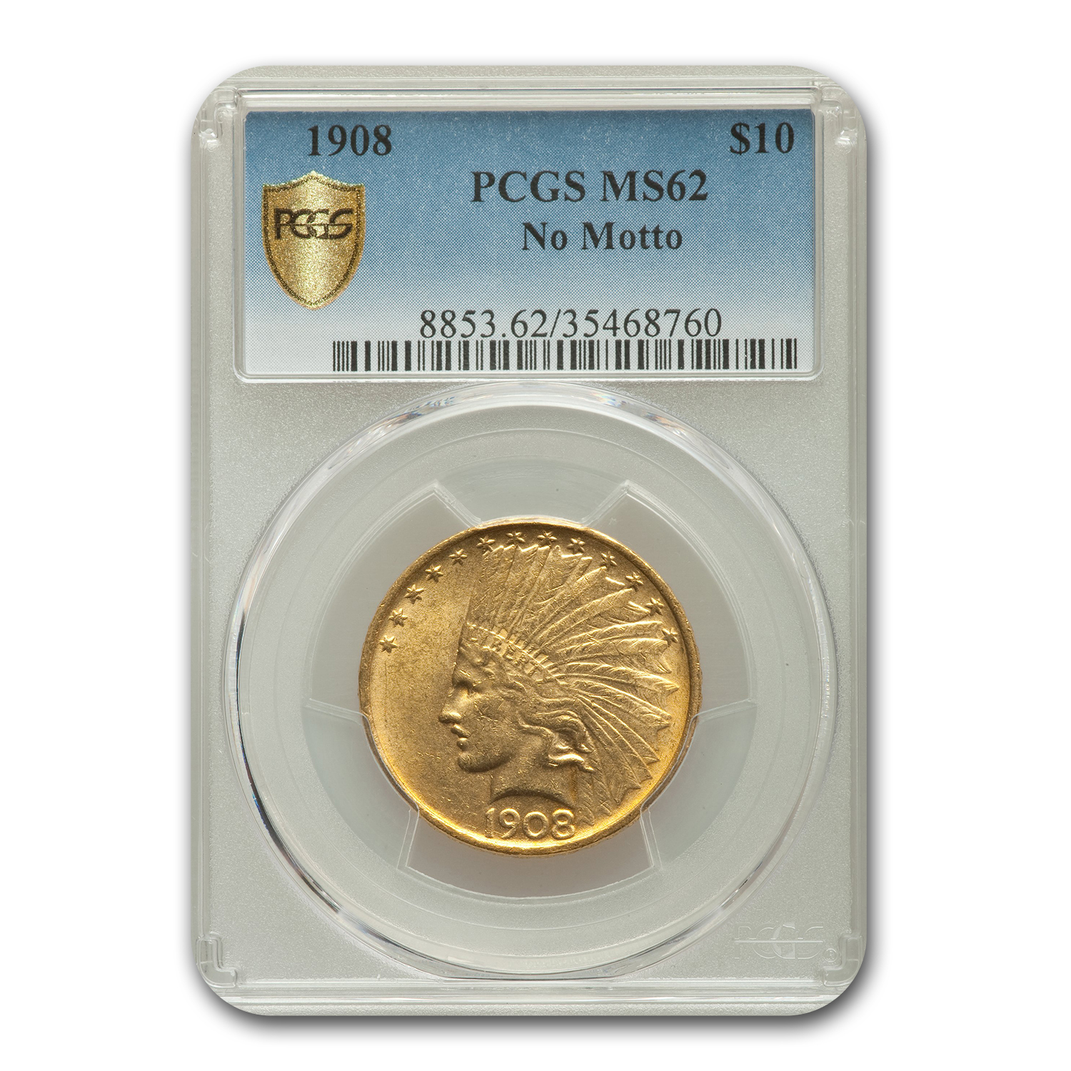 1908 $10 Indian Gold Eagle No Motto MS-62 PCGS