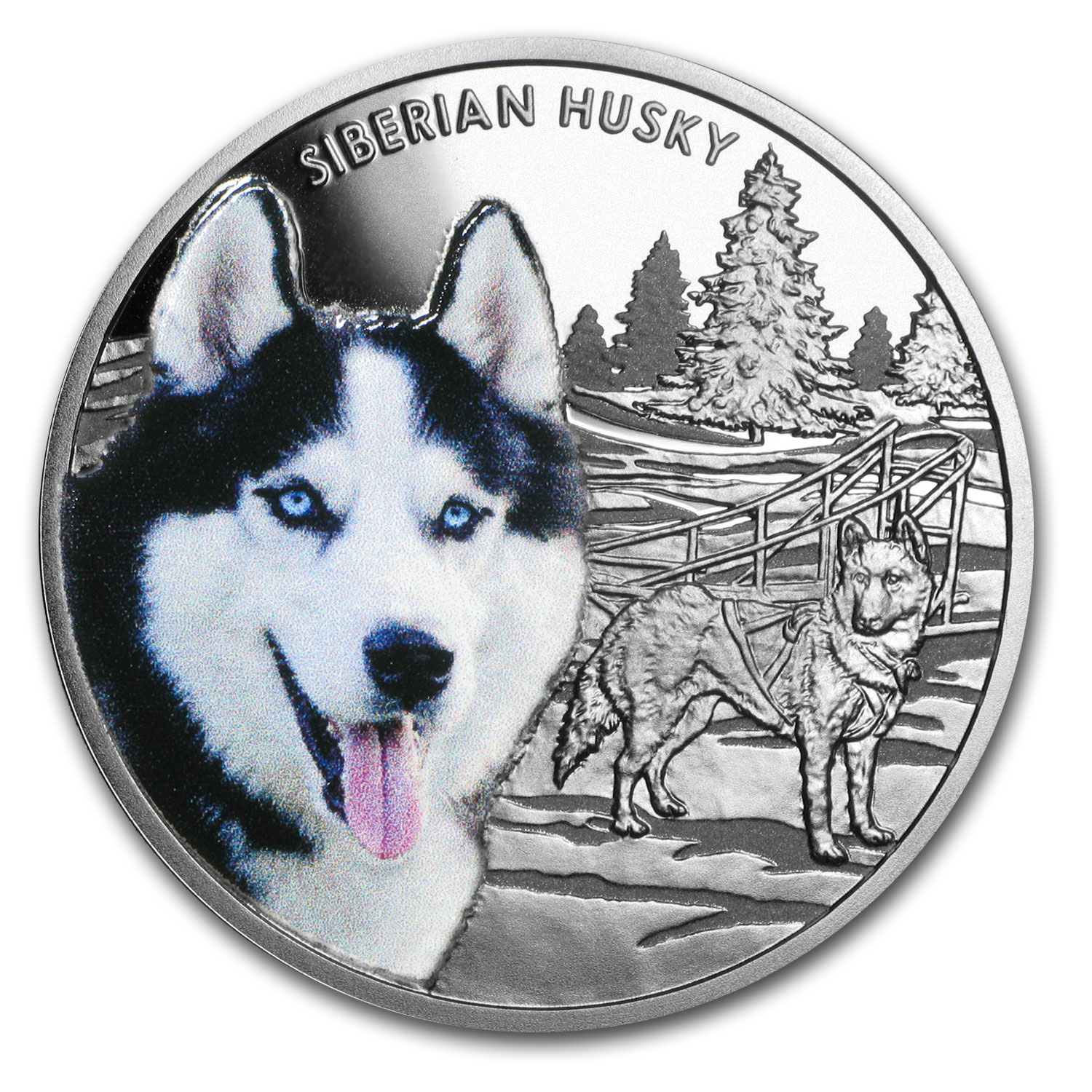 2016 Niue Proof Silver Man's Best Friends Dogs Siberian Husky