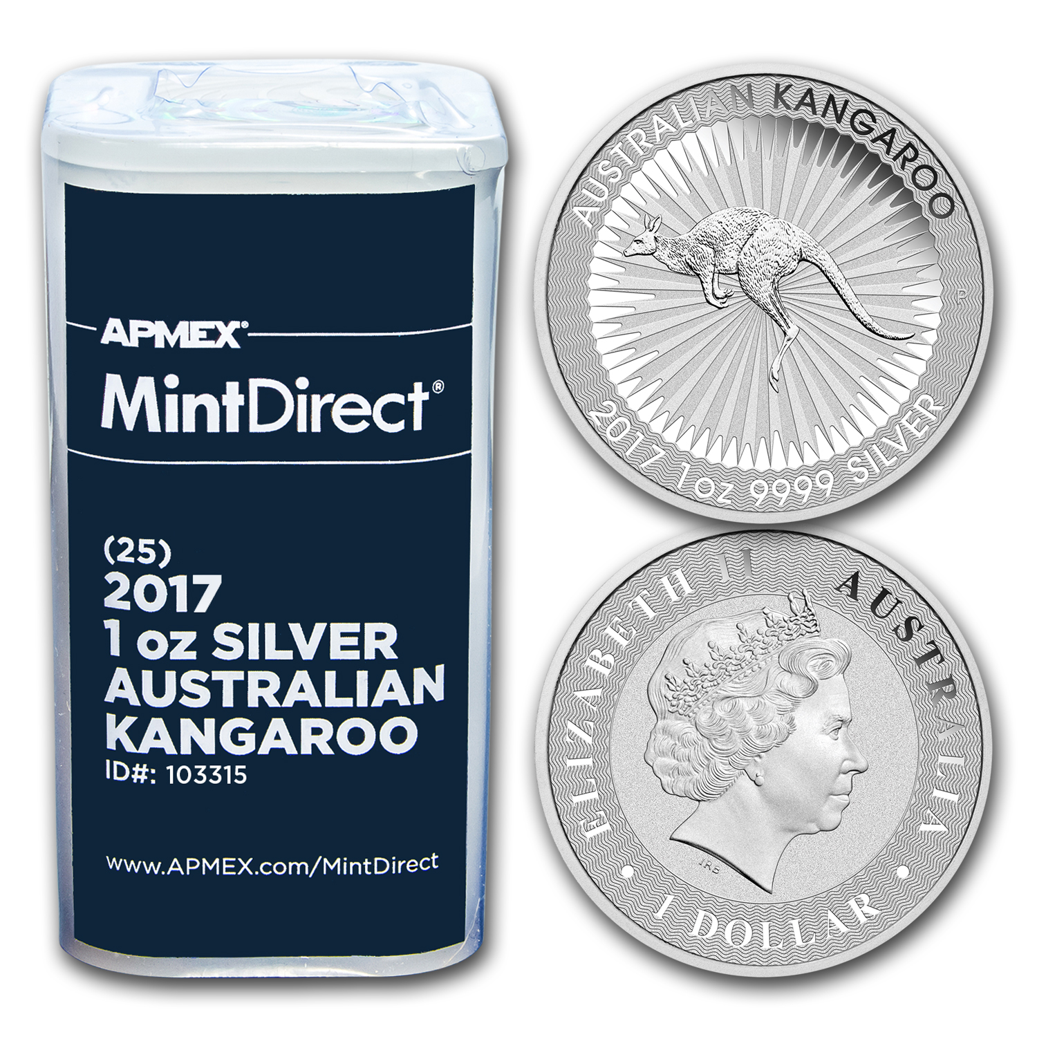 2017 Australia 1 oz Silver Kangaroo (25-Coin MintDirect® Tube)