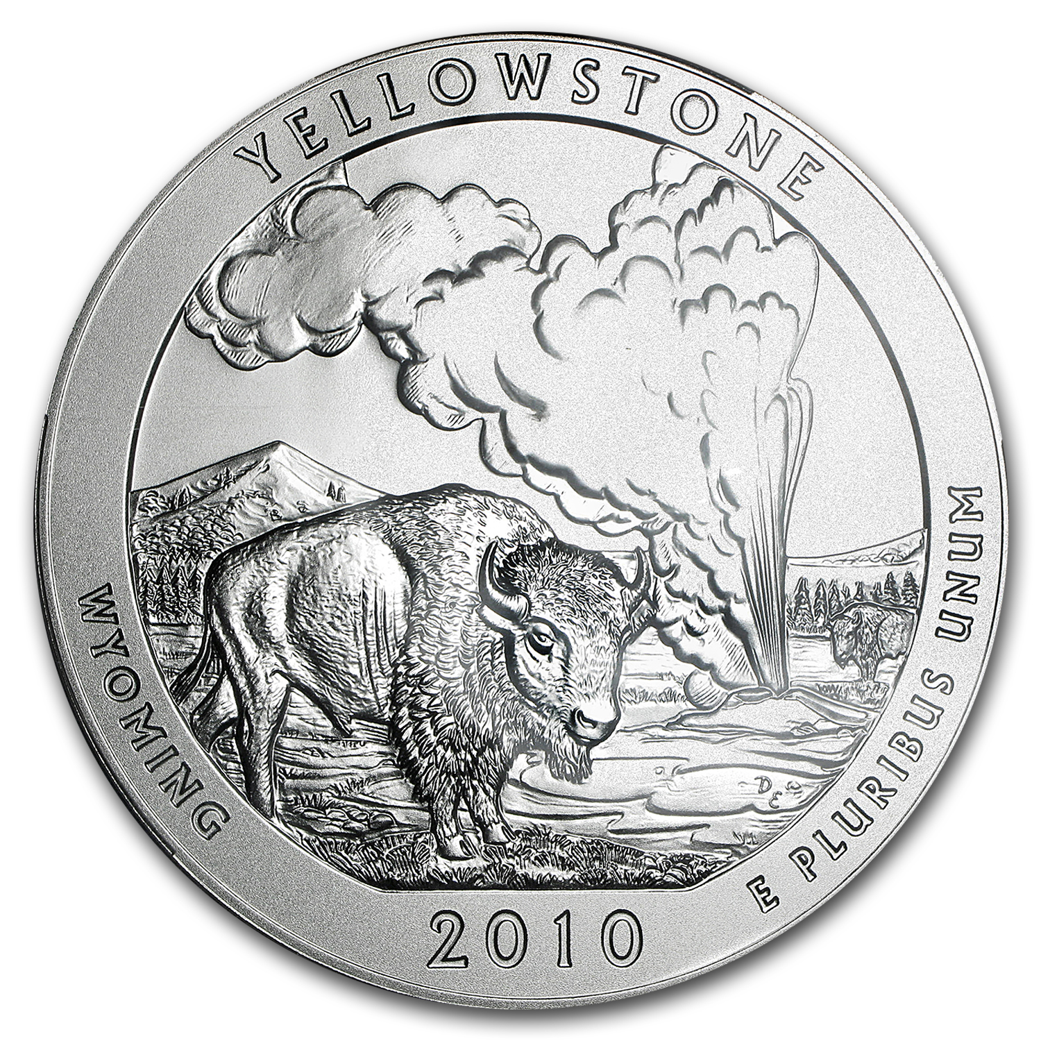 2010-P 5 oz Silver ATB Yellowstone SP-69 NGC (ER)