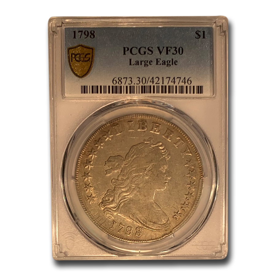 1798 Draped Bust Dollar Heraldic Eagle VF-30 PCGS