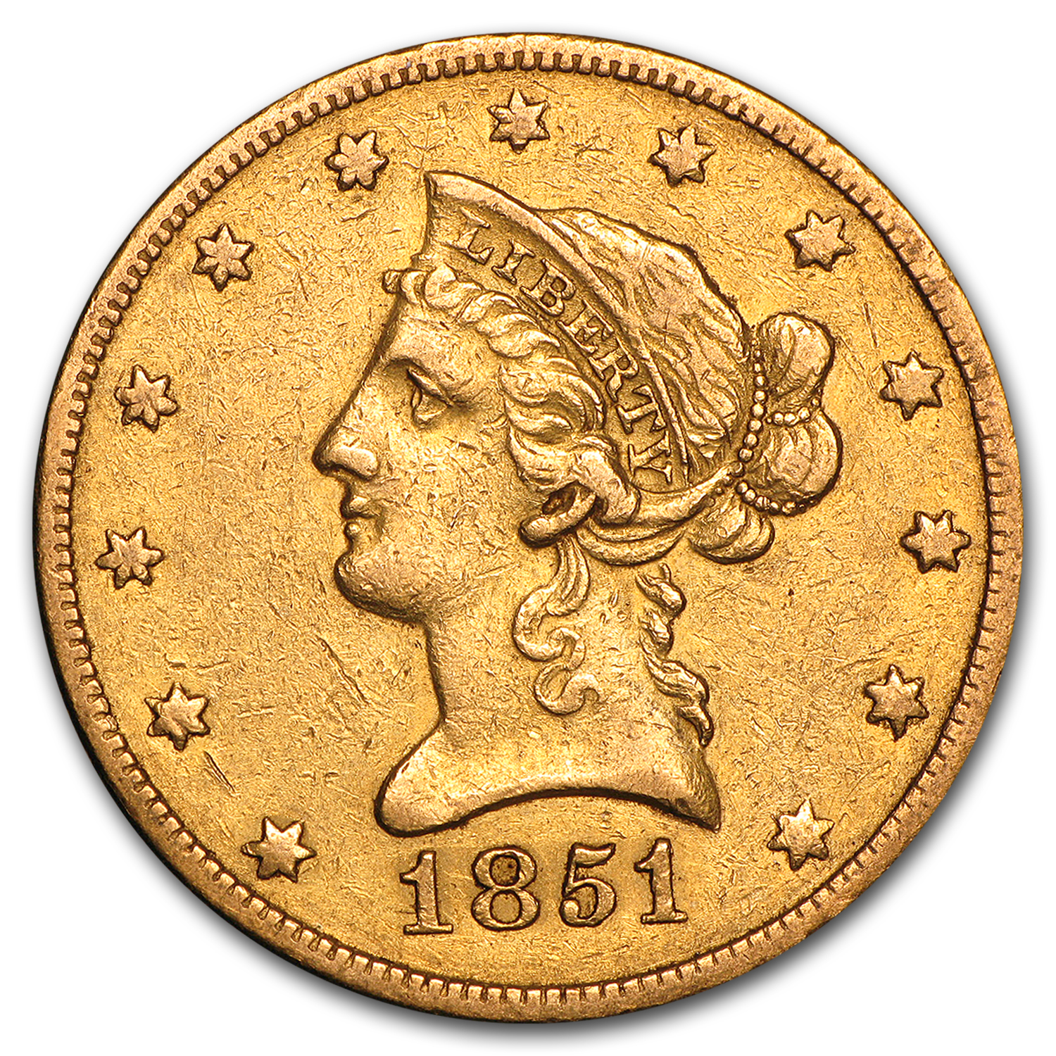 1851-O $10 Liberty Gold Eagle VF