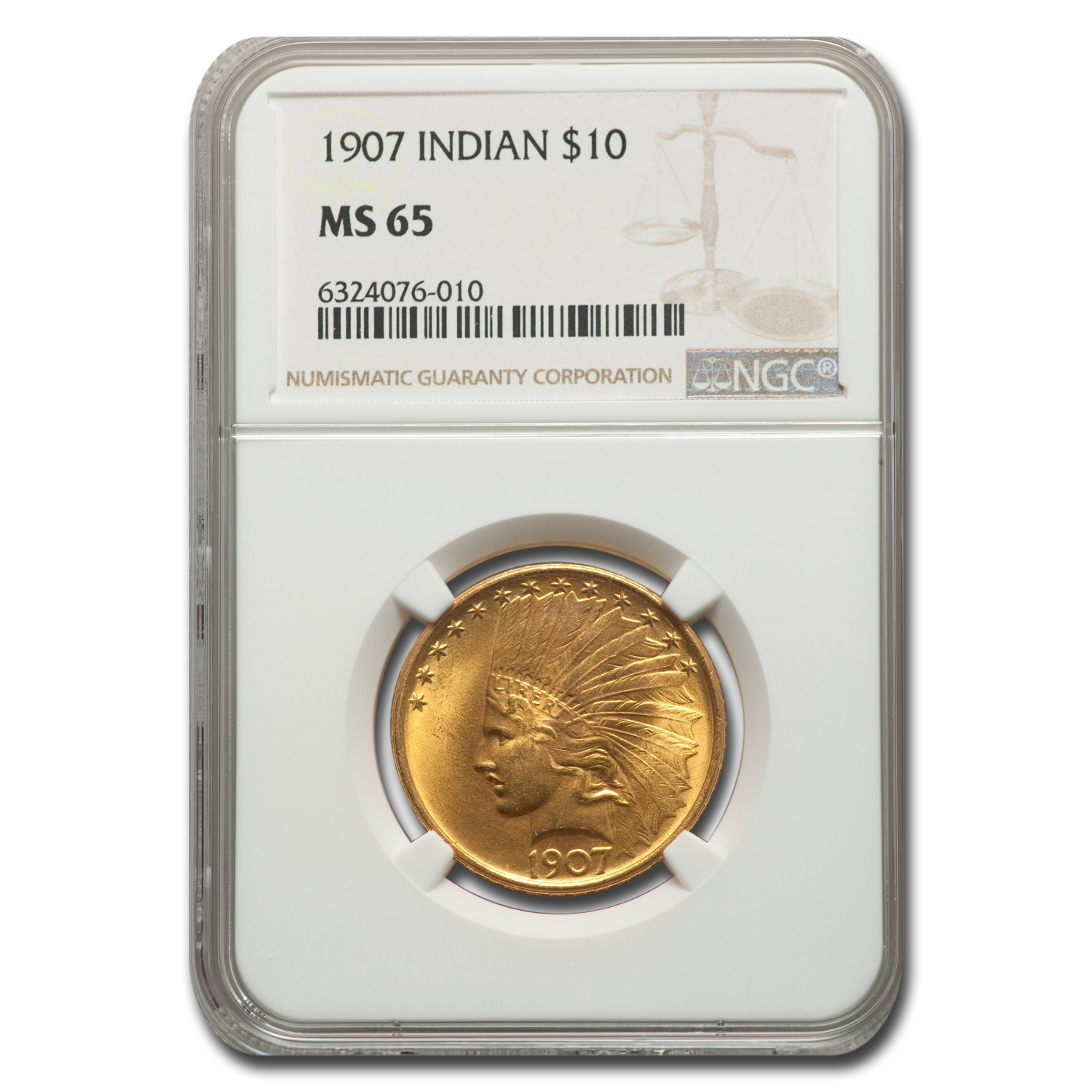 1907 $10 Indian Gold Eagle No Motto MS-65 NGC