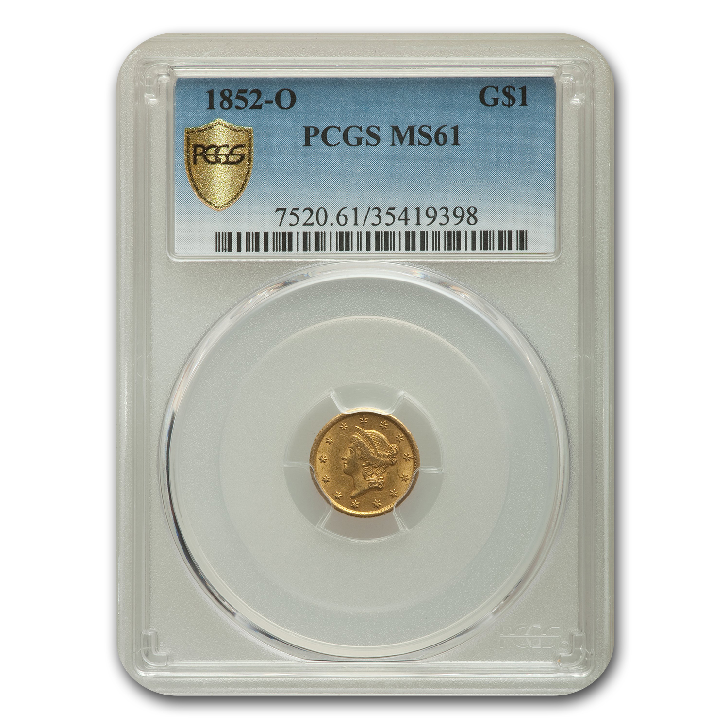 1852-O $1 Liberty Head Gold MS-61 PCGS