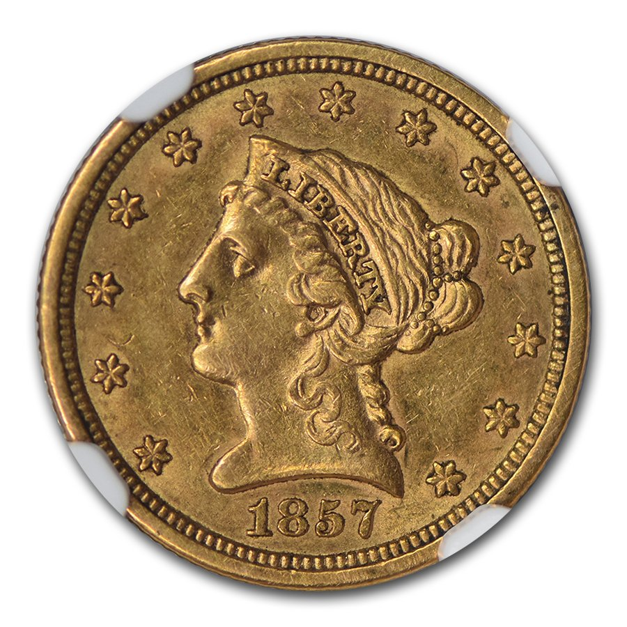 1857-S $2.50 Liberty Gold Quarter Eagle AU-58 NGC
