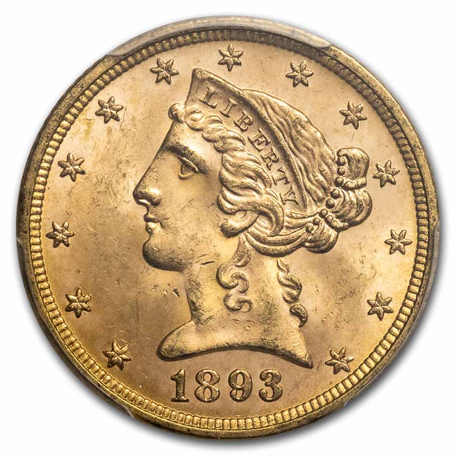 1893 $5 Liberty Gold Half Eagle MS-64 PCGS