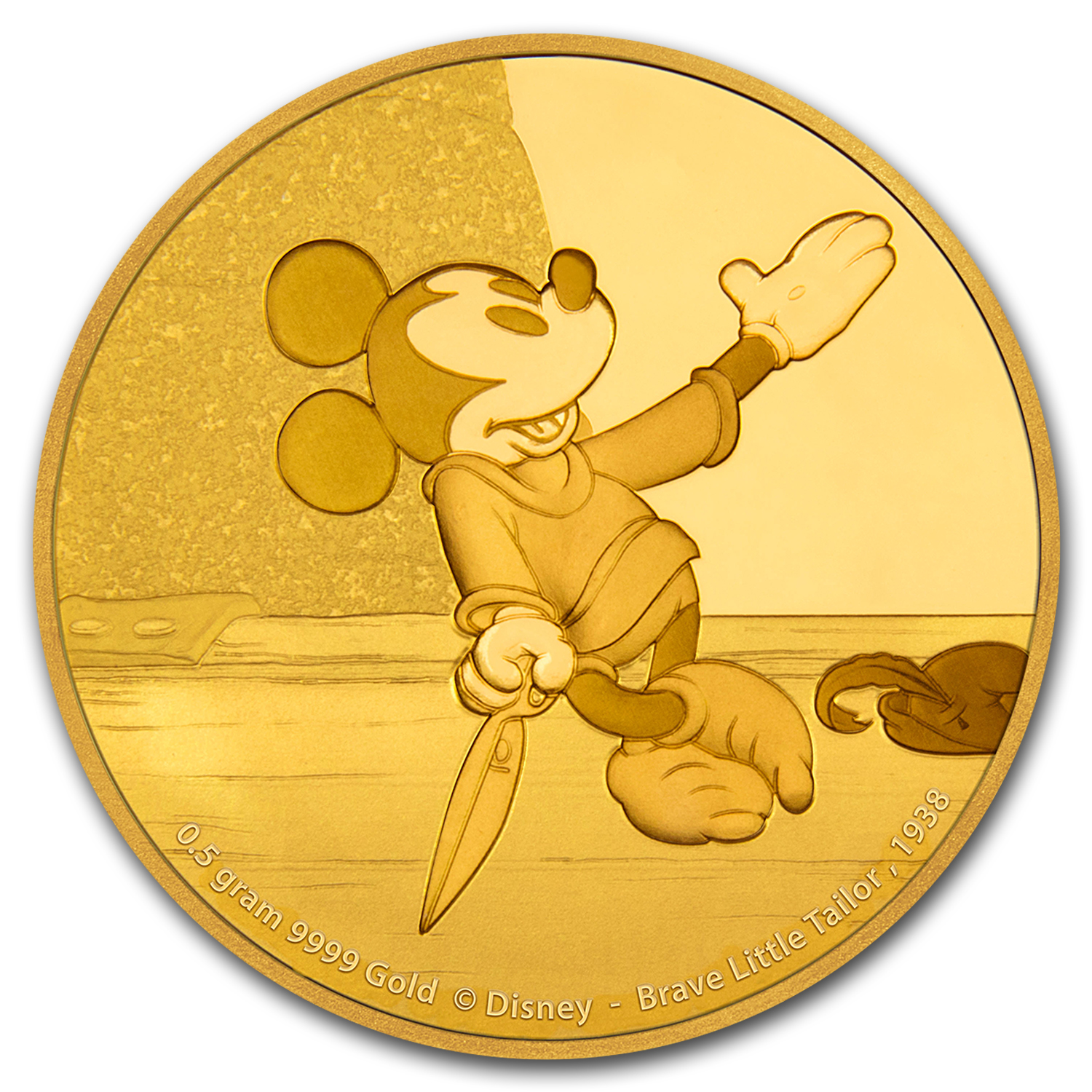 2016 1/2g Gold $2.50 Mickey Through the Ages: Brave Little Tailor