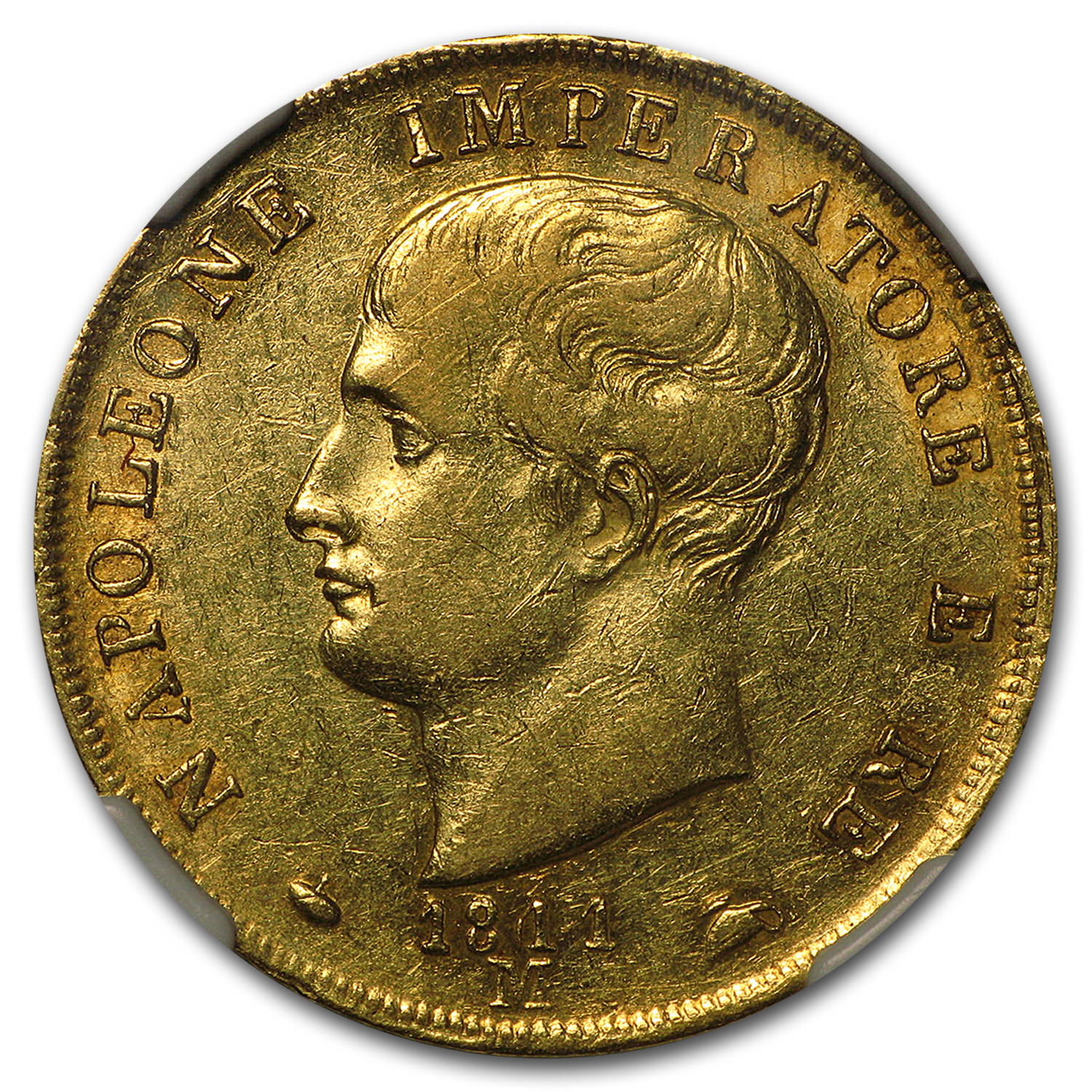 1811/09-M Italy Kingdom of Napoleon Gold 40 Lire AU-50 NGC