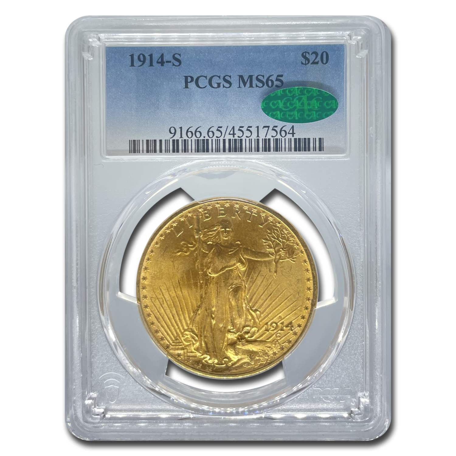 1914-S $20 St. Gaudens Gold Double Eagle MS-65 PCGS (CAC)