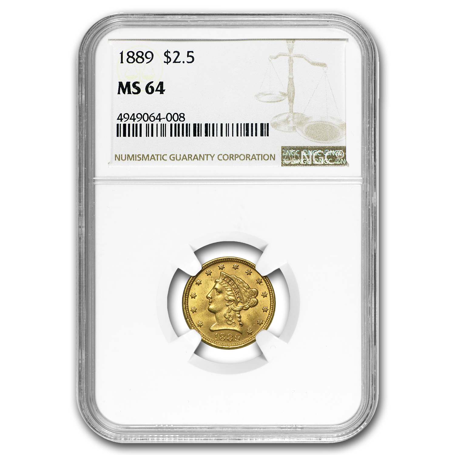 1889 $2.50 Liberty Gold Quarter Eagle MS-64 NGC