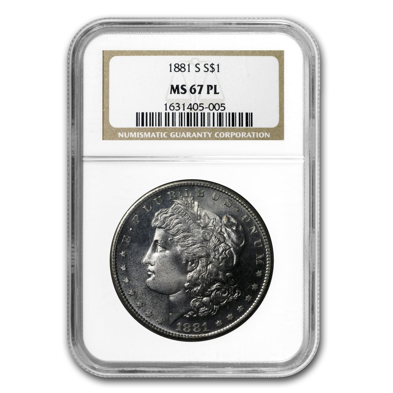 1881-S Morgan Dollar MS-67 PL Proof Like NGC