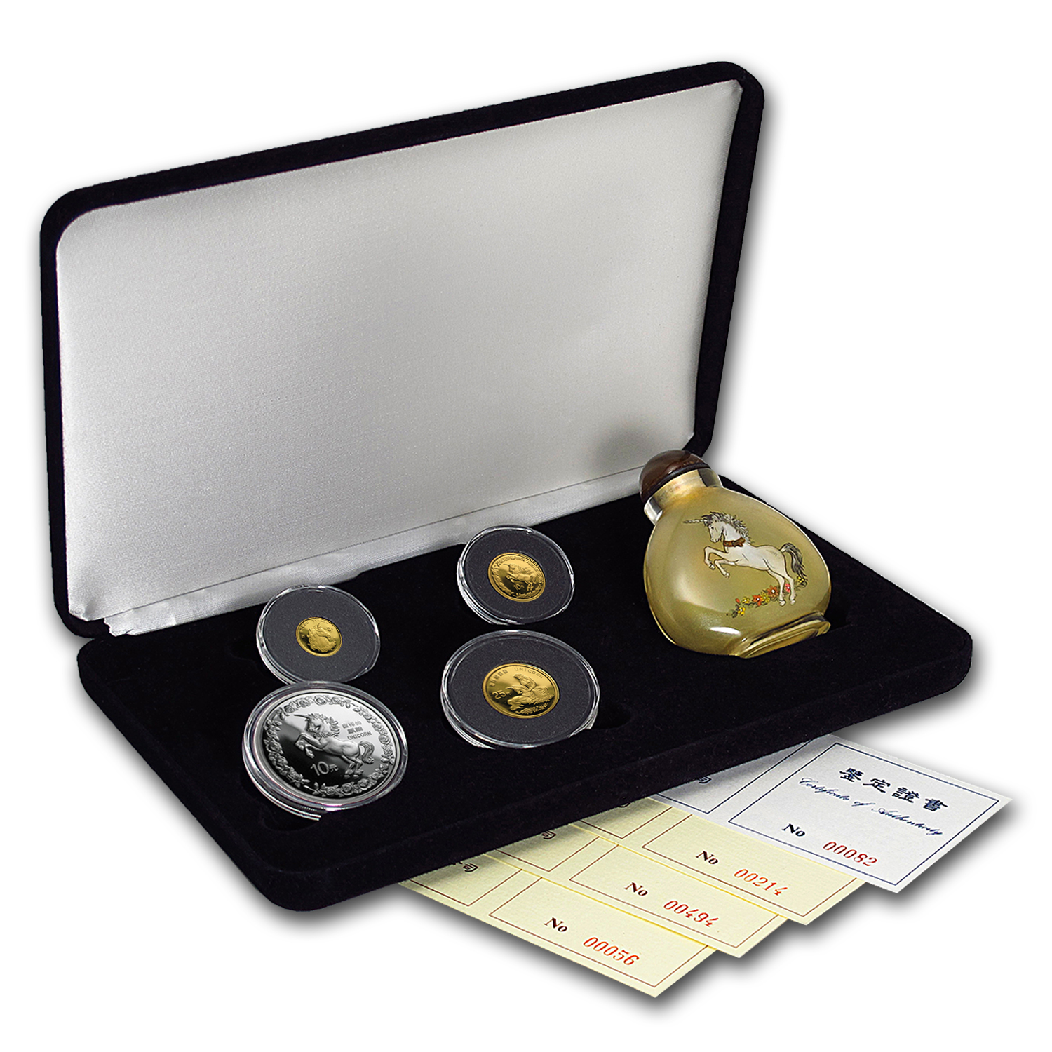 1996 China 4-coin Unicorn Proof Set (w/Box & COA)