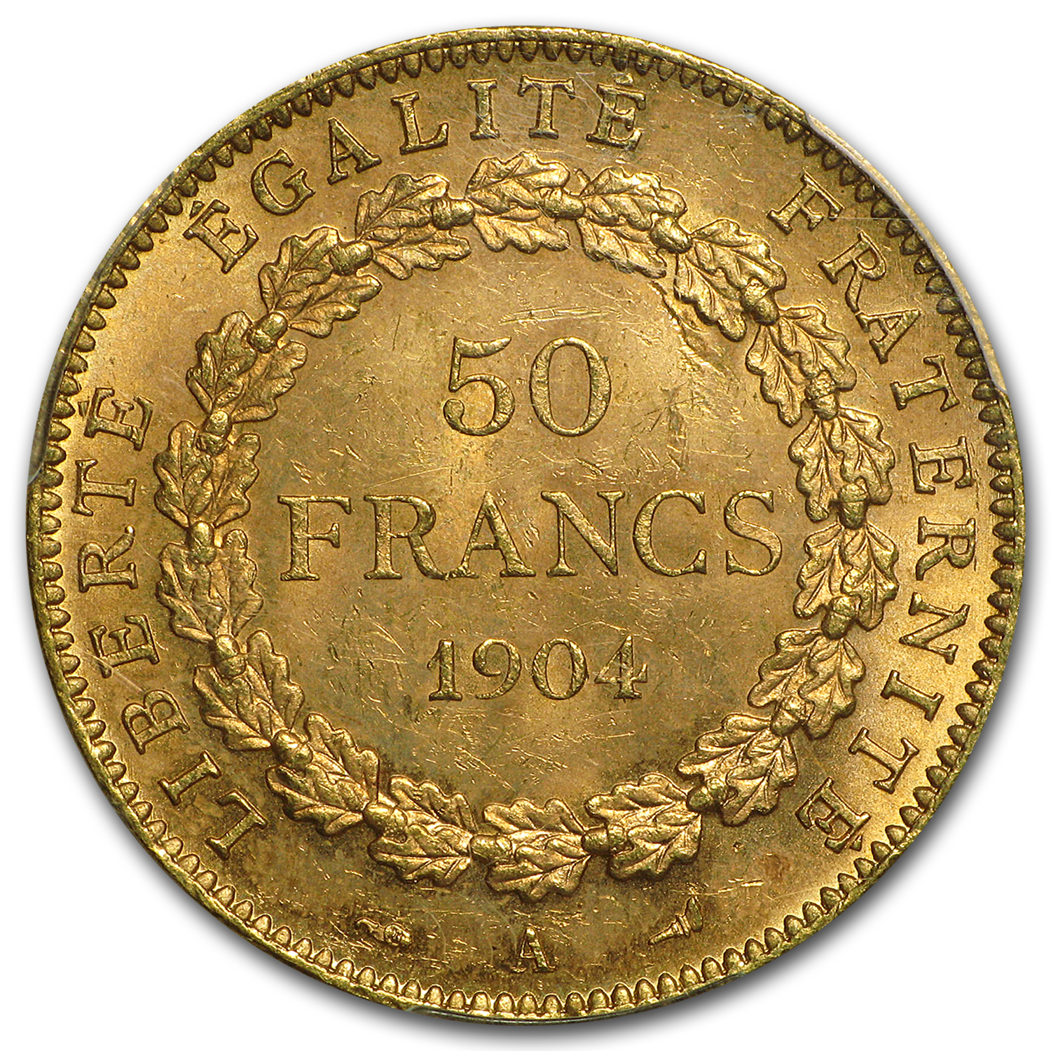 1904-A France Gold 50 Francs Angel MS-64 PCGS