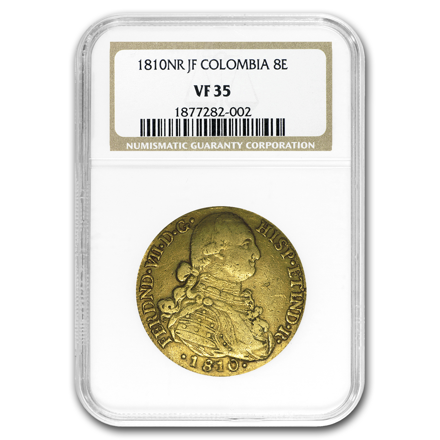 1810 NR-JF Colombia Gold 8 Escudo Ferdinand VII VF-35 NGC
