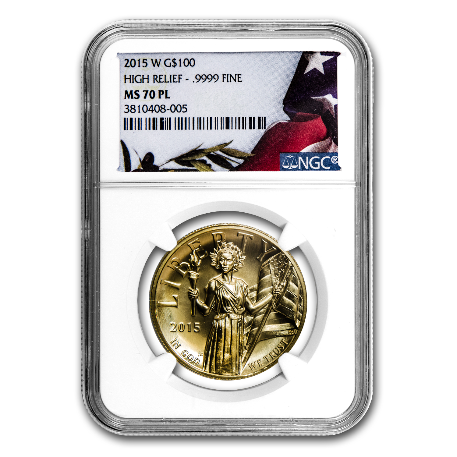 2015 High Relief American Liberty Gold MS-70 PL NGC