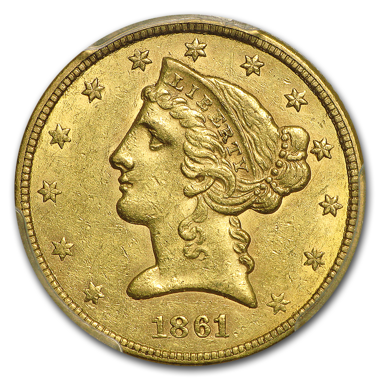 1861 $5 Liberty Gold Half Eagle AU-55 PCGS