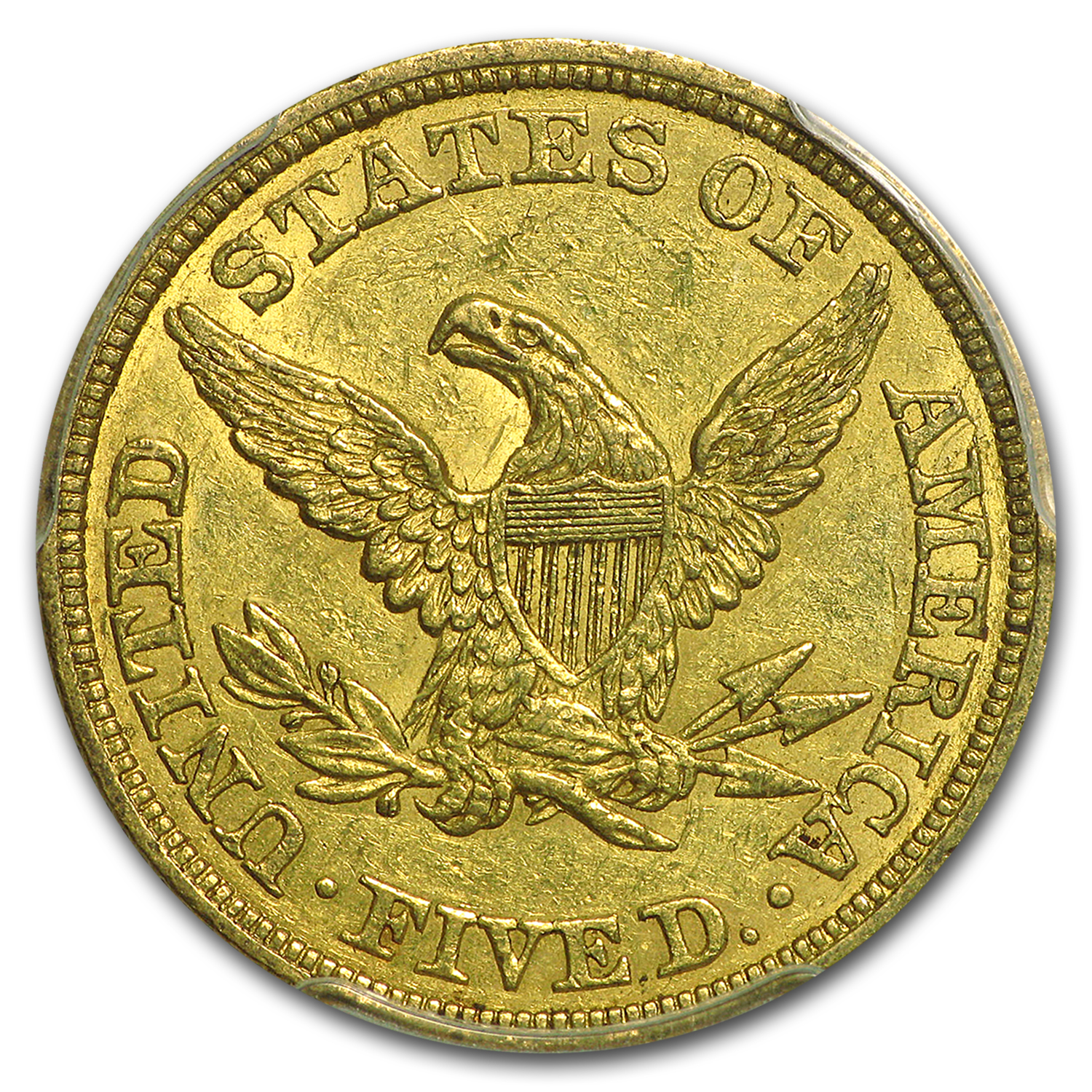 1845 $5 Liberty Gold Half Eagle AU-50 PCGS