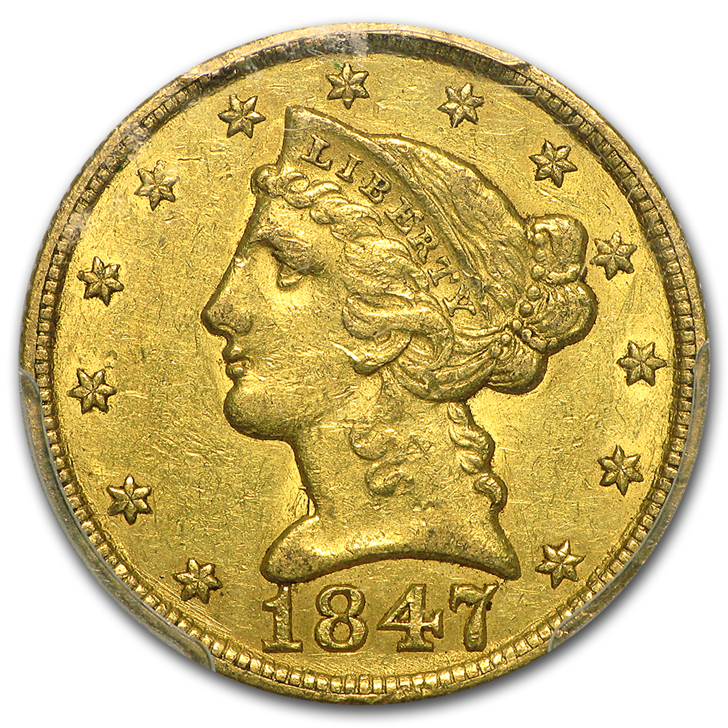 1847 $5 Liberty Gold Half Eagle AU-50 PCGS