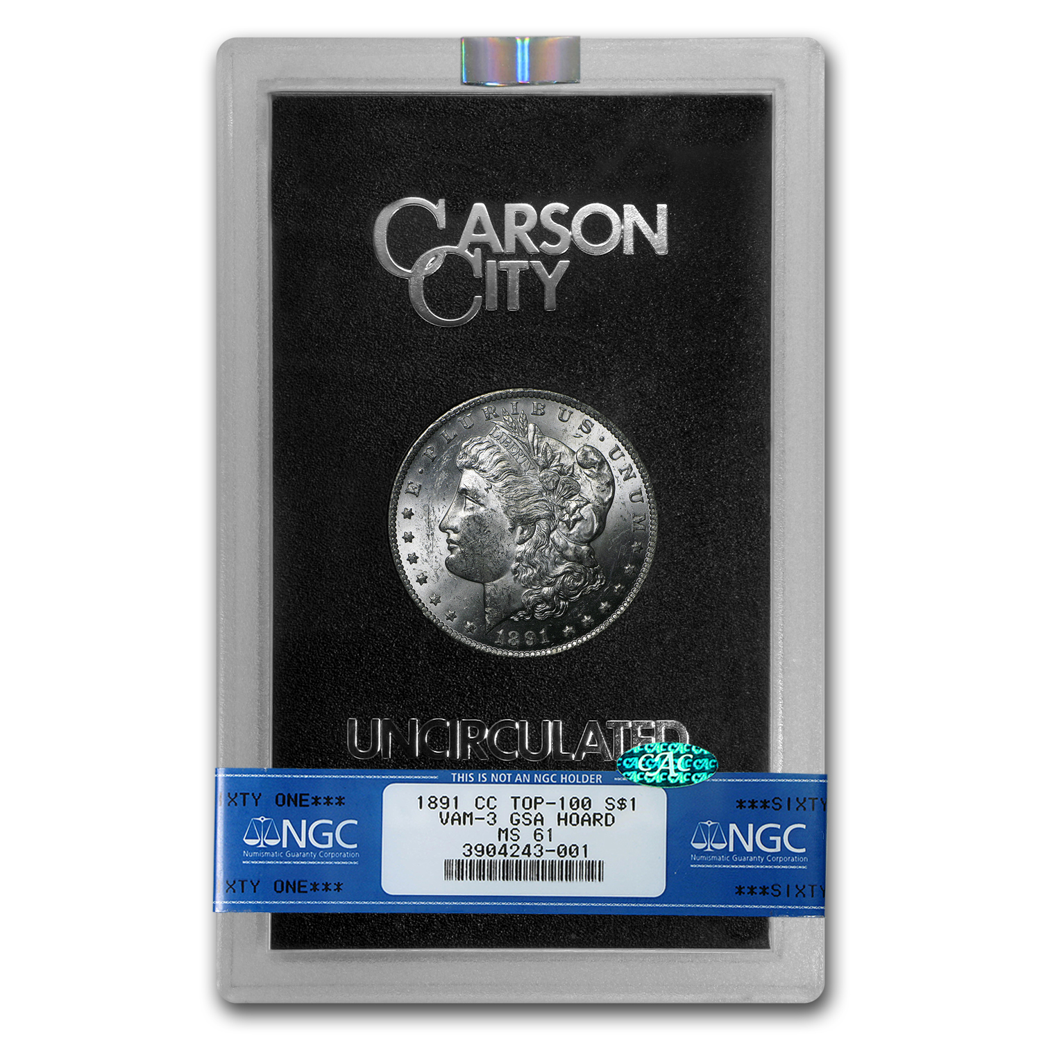 1891-CC Morgan Dollar MS-61 NGC (CAC, GSA)