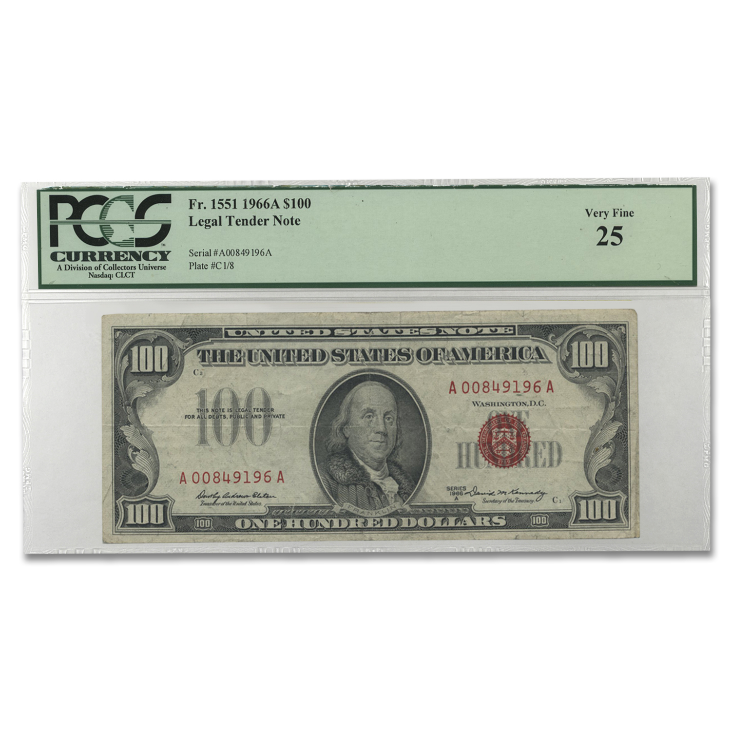 1966-A $100 U.S. Note Red Seal Very Fine-25 PCGS
