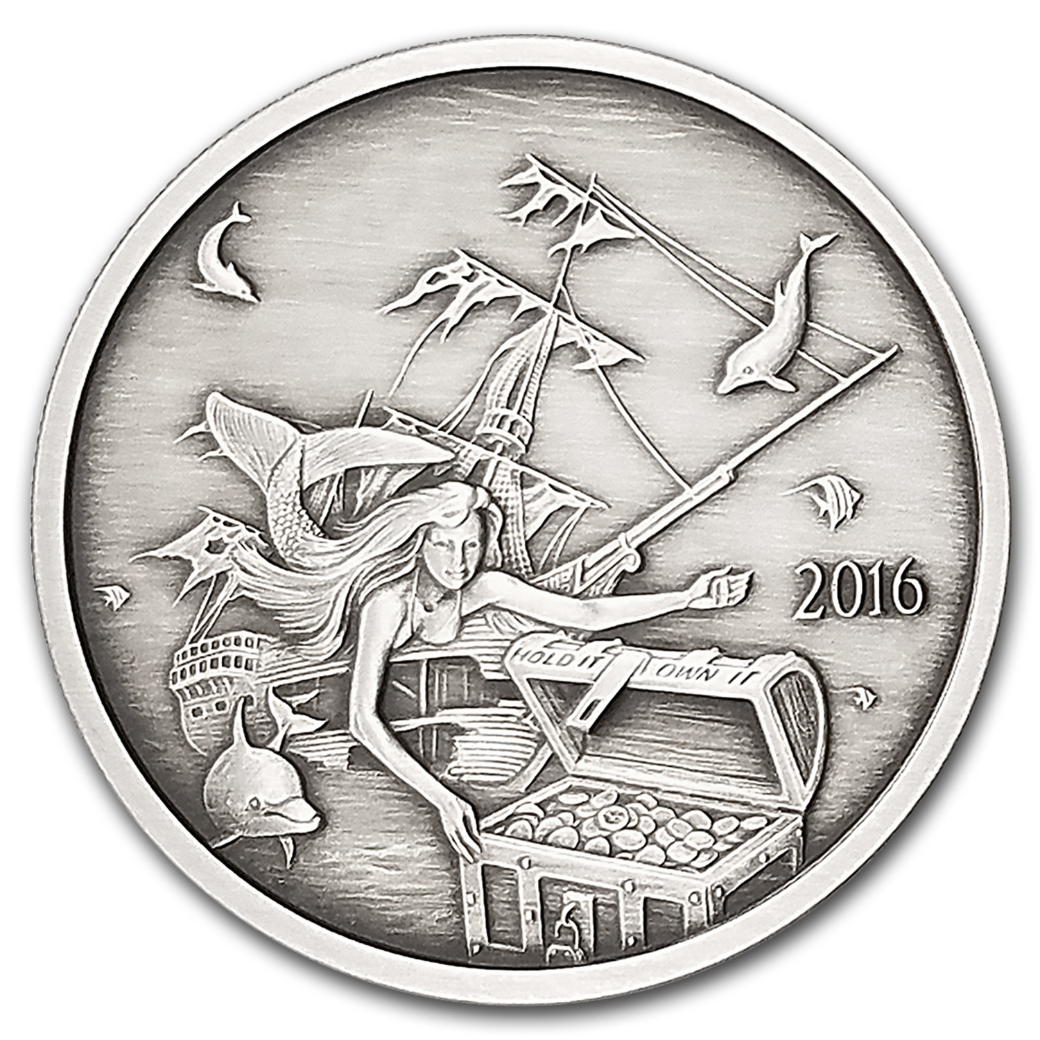 1 oz Silver Round - 2016 Silverbug Island Mermaid (Antique)