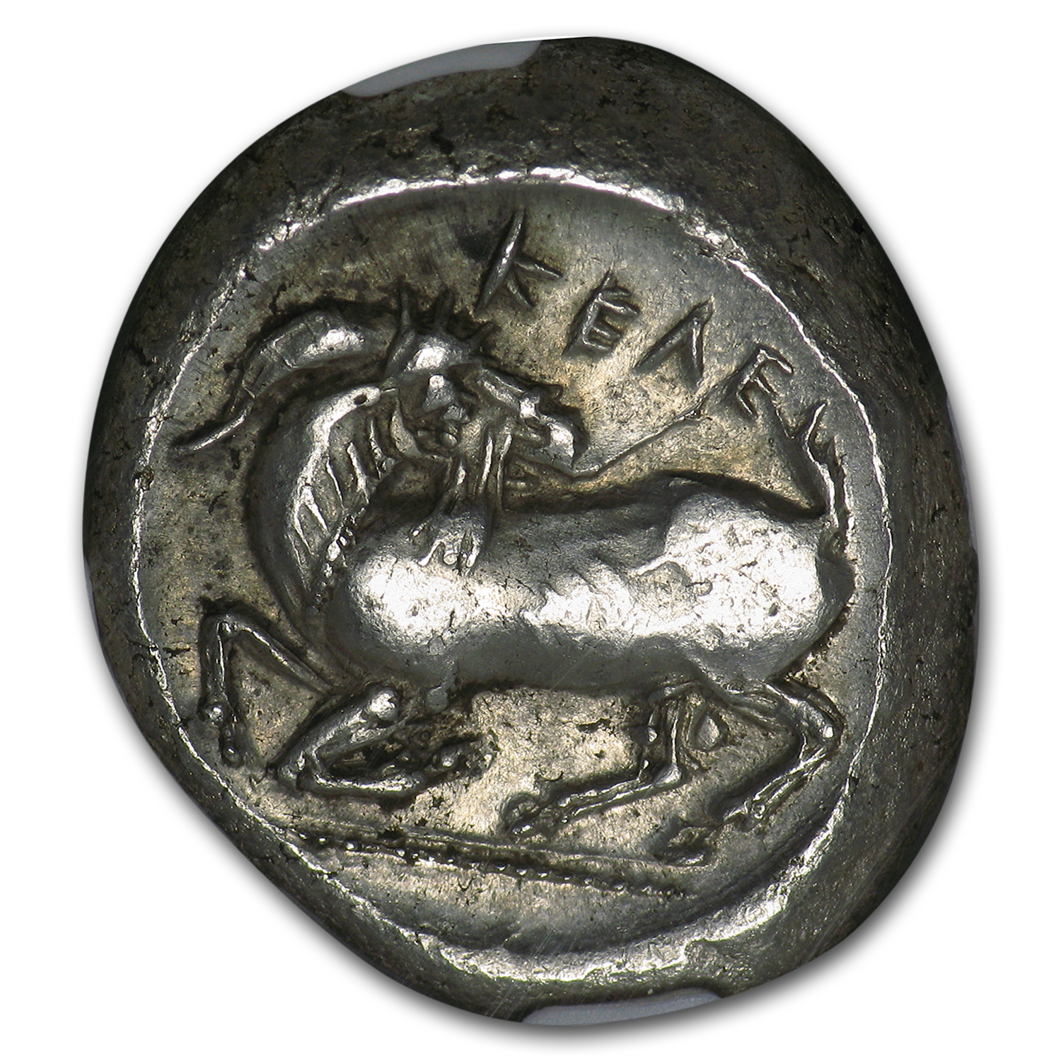 Cilicia Celenderis AR Silver Stater Horseman (425-350 BC) AU NGC