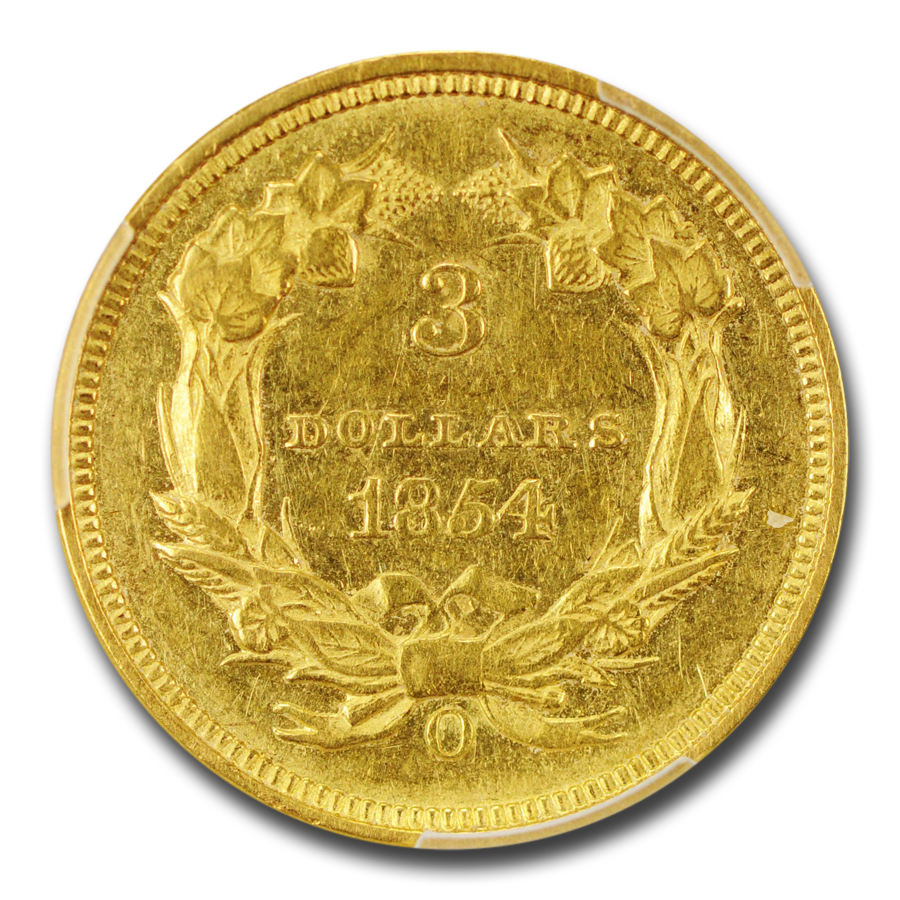 1854-O $3 Gold Princess AU-58 PCGS